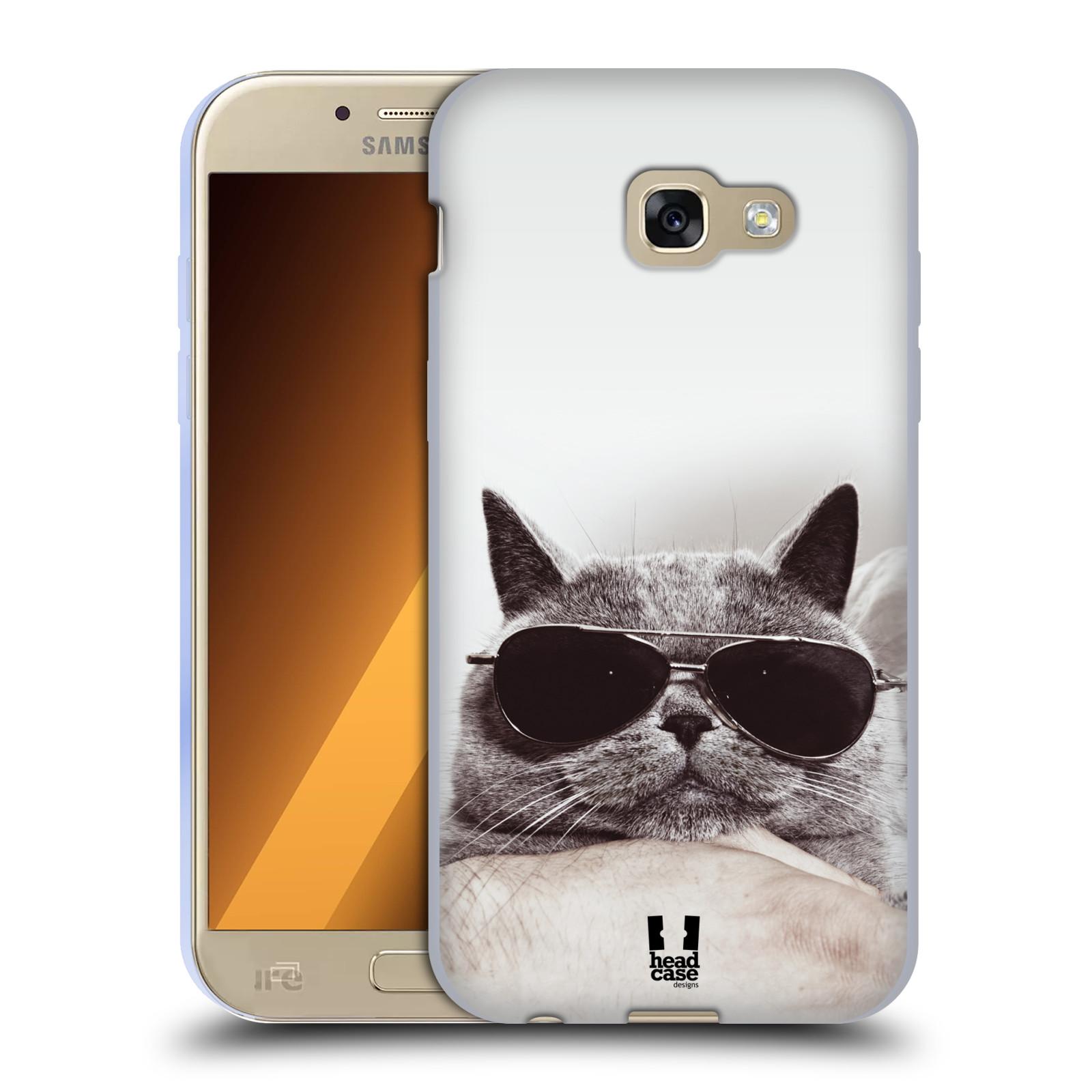 Silikonové pouzdro na mobil Samsung Galaxy A5 (2017) HEAD CASE KOTĚ S BRÝLEMI (Silikonový kryt či obal na mobilní telefon Samsung Galaxy A5 2017 SM-A520)
