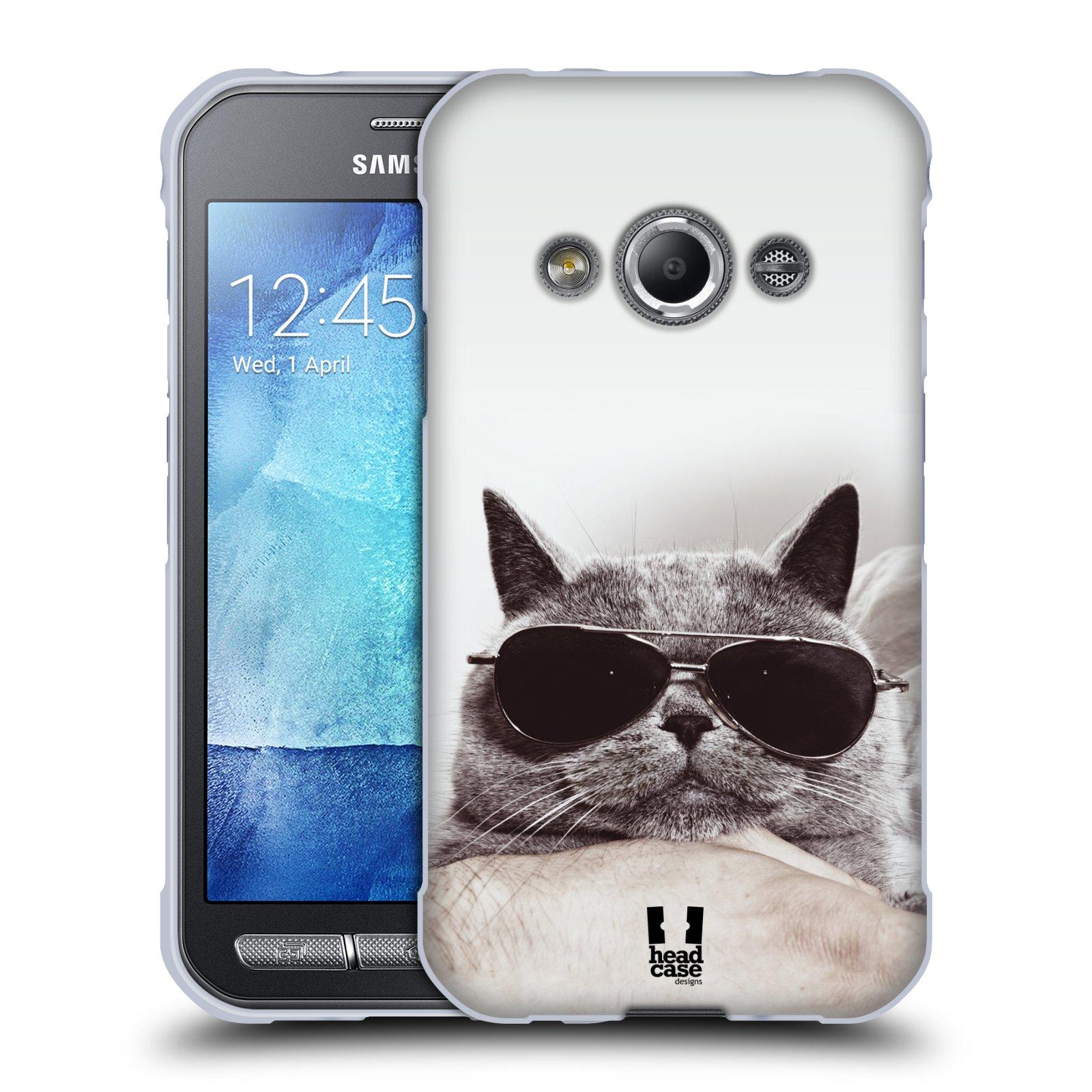 Silikonové pouzdro na mobil Samsung Galaxy Xcover 3 HEAD CASE KOTĚ S BRÝLEMI (Silikonový kryt či obal na mobilní telefon Samsung Galaxy Xcover 3 SM-G388F)