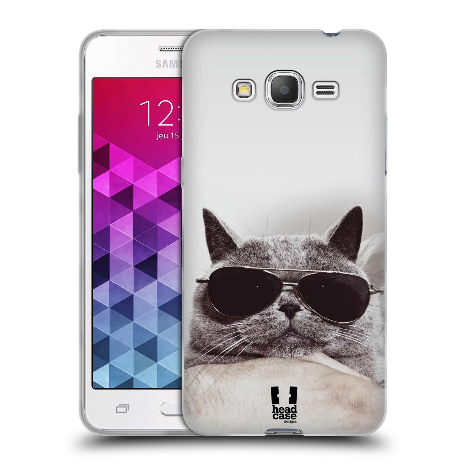 Silikonové pouzdro na mobil Samsung Galaxy Grand Prime HEAD CASE KOTĚ S BRÝLEMI (Silikonový kryt či obal na mobilní telefon Samsung Galaxy Grand Prime SM-G530)
