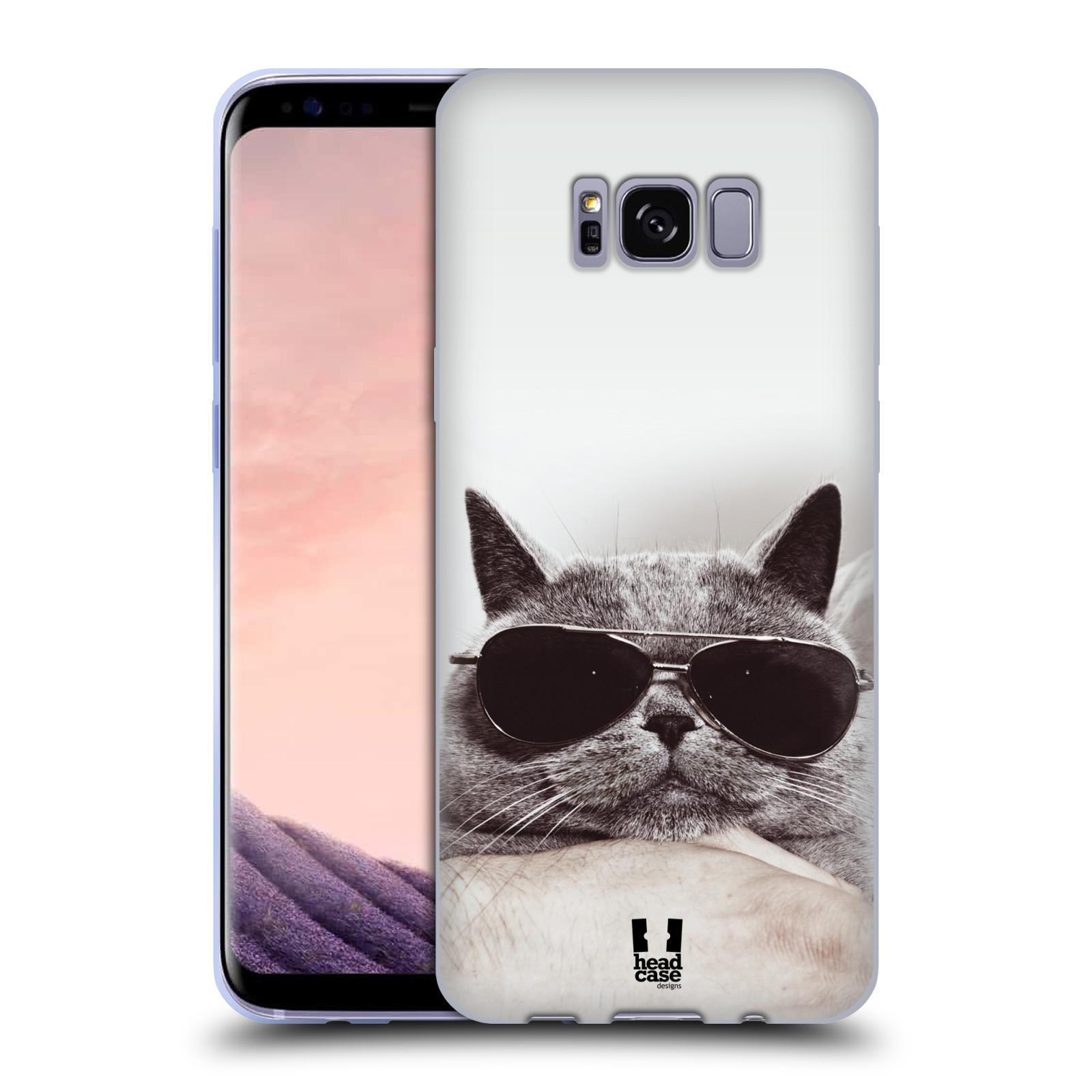 Silikonové pouzdro na mobil Samsung Galaxy S8 Head Case KOTĚ S BRÝLEMI (Silikonový kryt či obal na mobilní telefon Samsung Galaxy S8 SM-G9500)