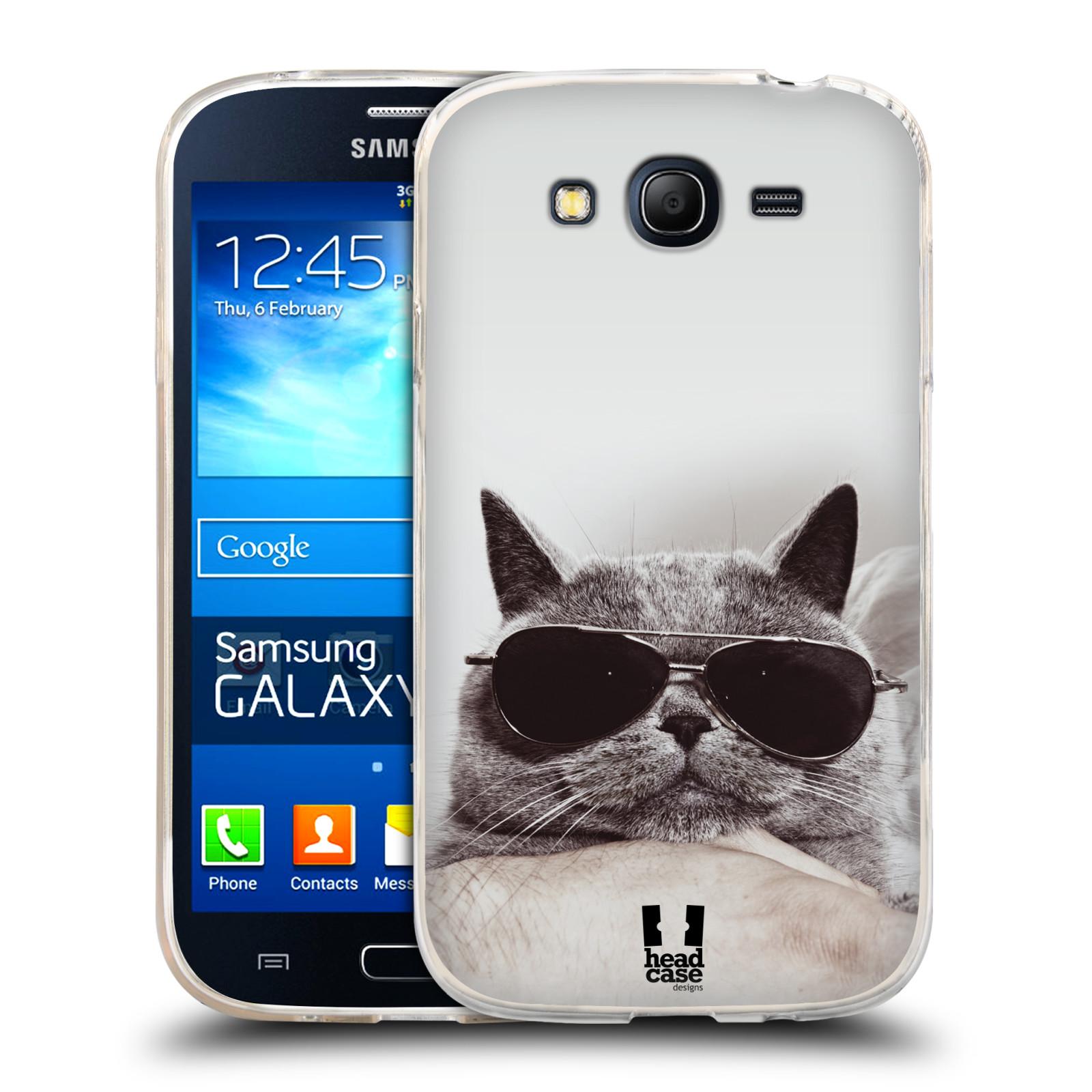 Silikonové pouzdro na mobil Samsung Galaxy Grand Neo HEAD CASE KOTĚ S BRÝLEMI (Silikonový kryt či obal na mobilní telefon Samsung Galaxy Grand Neo GT-I9060)