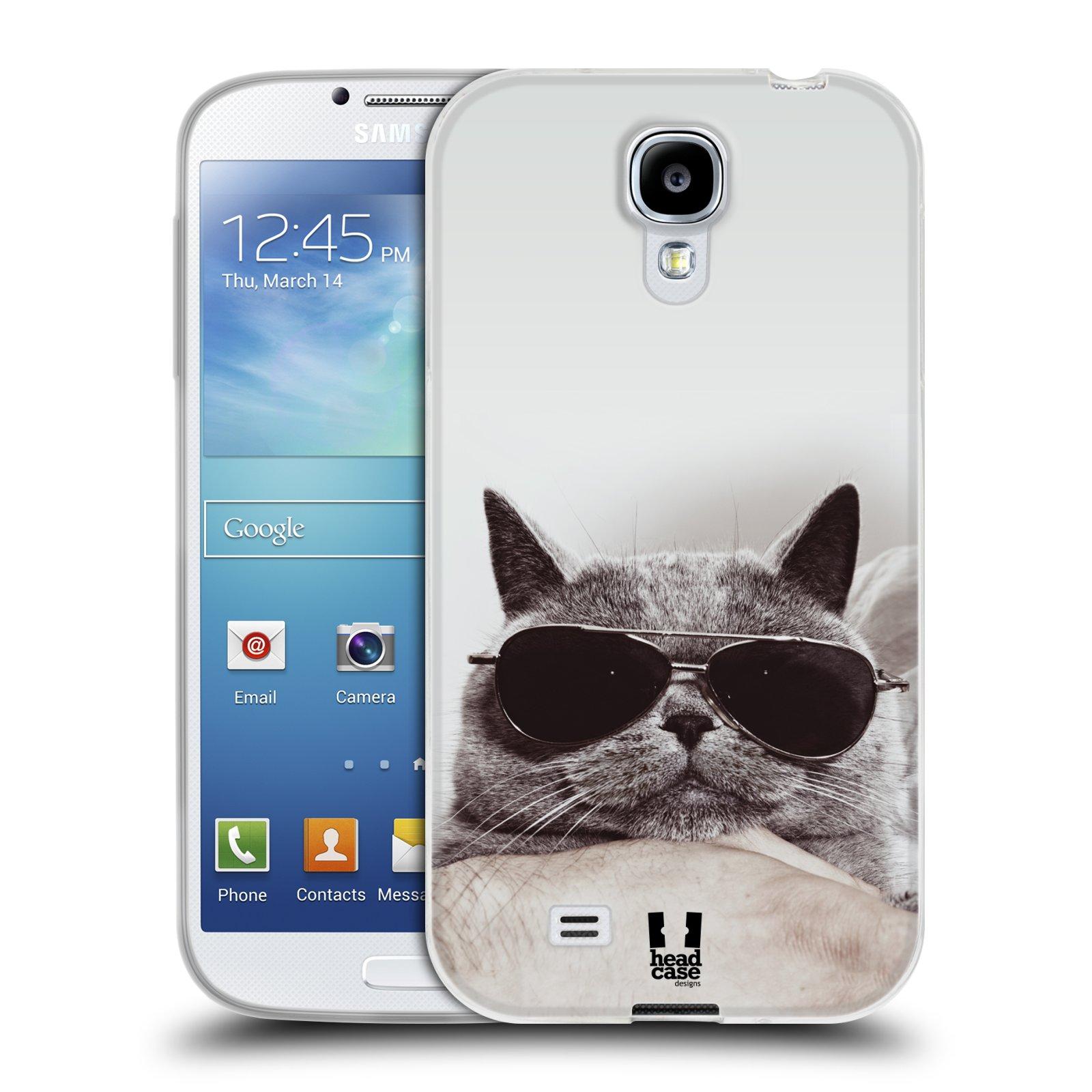 Silikonové pouzdro na mobil Samsung Galaxy S4 HEAD CASE KOTĚ S BRÝLEMI (Silikonový kryt či obal na mobilní telefon Samsung Galaxy S4 GT-i9505 / i9500)