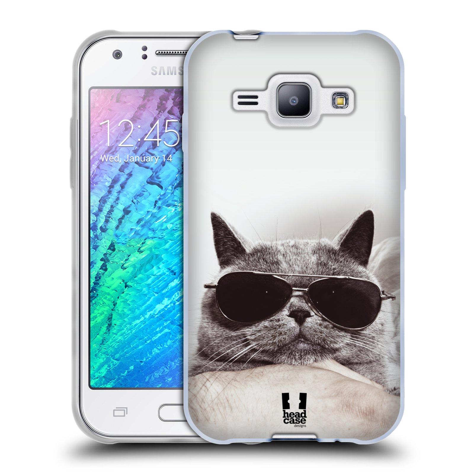 Silikonové pouzdro na mobil Samsung Galaxy J1 HEAD CASE KOTĚ S BRÝLEMI (Silikonový kryt či obal na mobilní telefon Samsung Galaxy J1 a J1 Duos)