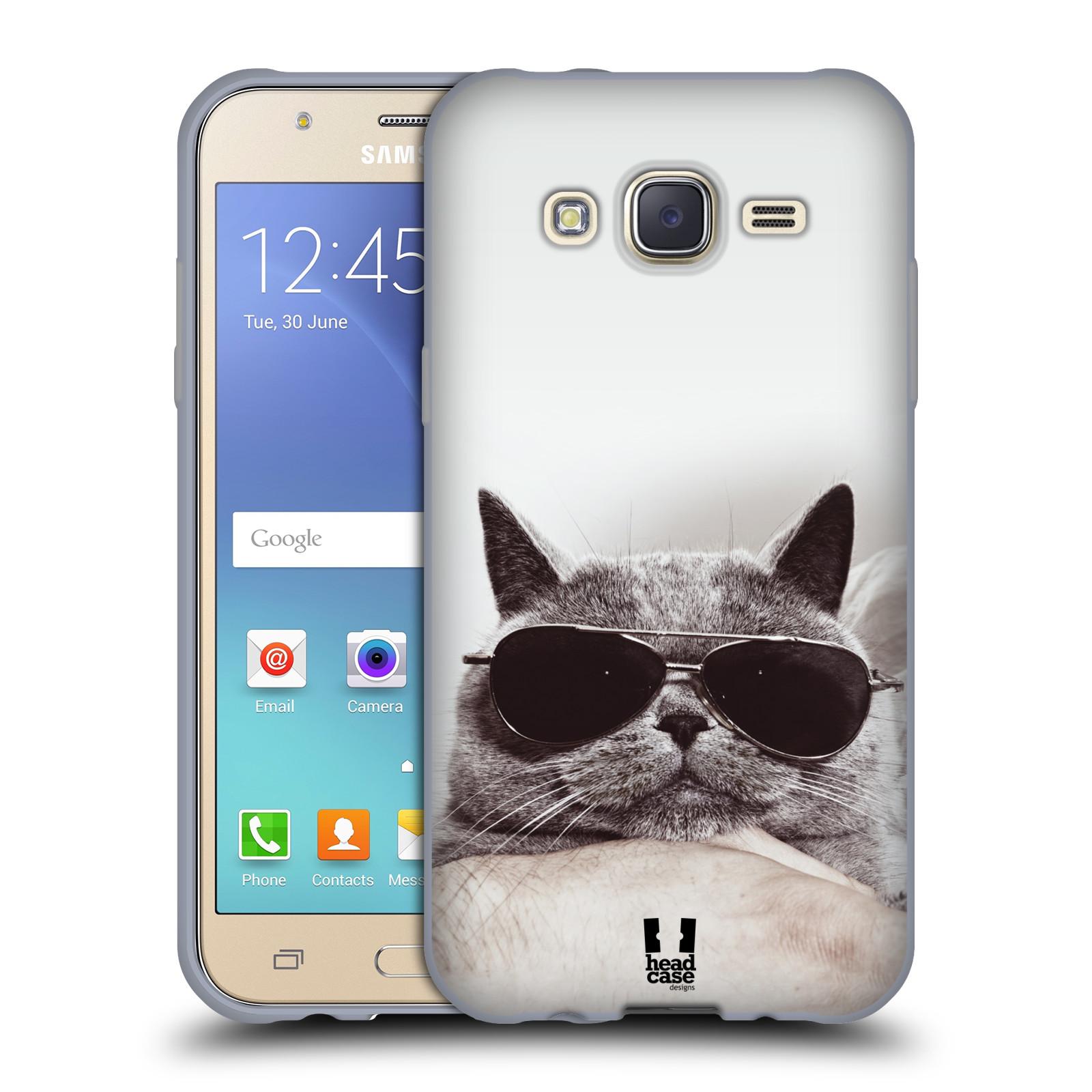 Silikonové pouzdro na mobil Samsung Galaxy J5 HEAD CASE KOTĚ S BRÝLEMI (Silikonový kryt či obal na mobilní telefon Samsung Galaxy Samsung Galaxy J5 SM-J500)