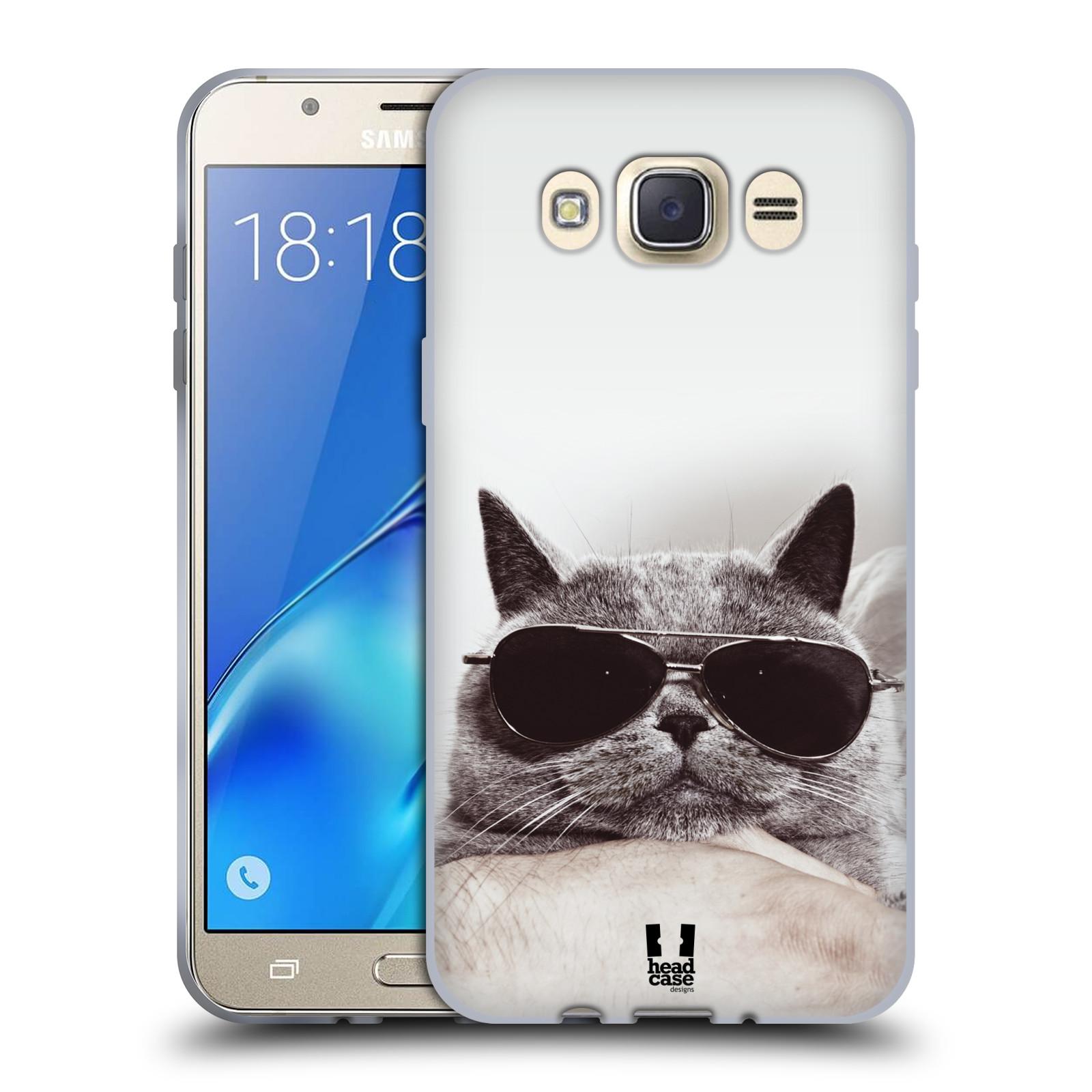Silikonové pouzdro na mobil Samsung Galaxy J7 (2016) HEAD CASE KOTĚ S BRÝLEMI (Silikonový kryt či obal na mobilní telefon Samsung Galaxy J7 (2016) SM-J710)