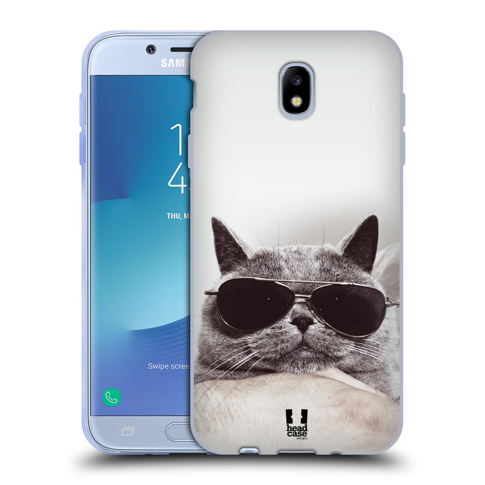 Silikonové pouzdro na mobil Samsung Galaxy J7 (2017) - Head Case - KOTĚ S BRÝLEMI (Silikonový kryt či obal na mobilní telefon Samsung Galaxy J7 2017 SM-J730F/DS s motivem KOTĚ S BRÝLEMI)