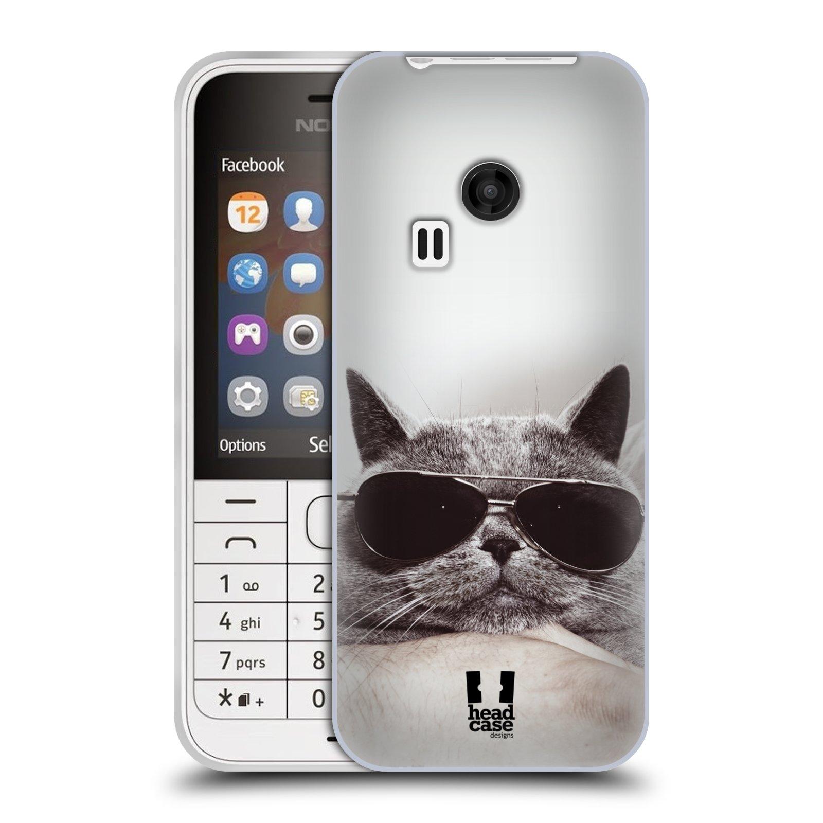 Silikonové pouzdro na mobil Nokia 220 HEAD CASE KOTĚ S BRÝLEMI