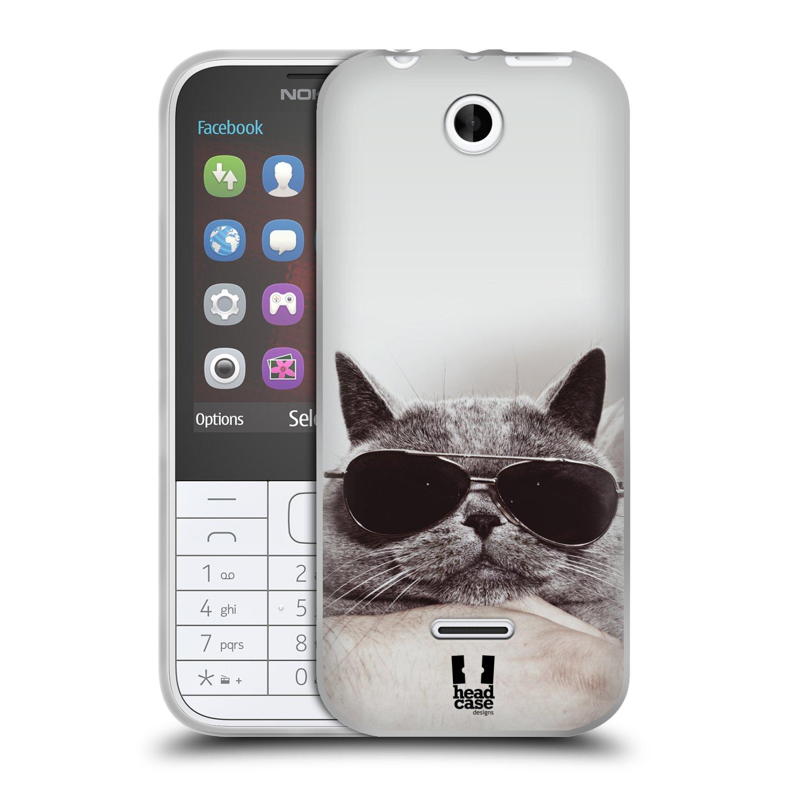 Silikonové pouzdro na mobil Nokia 225 HEAD CASE KOTĚ S BRÝLEMI (Silikonový kryt či obal na mobilní telefon Nokia 225)