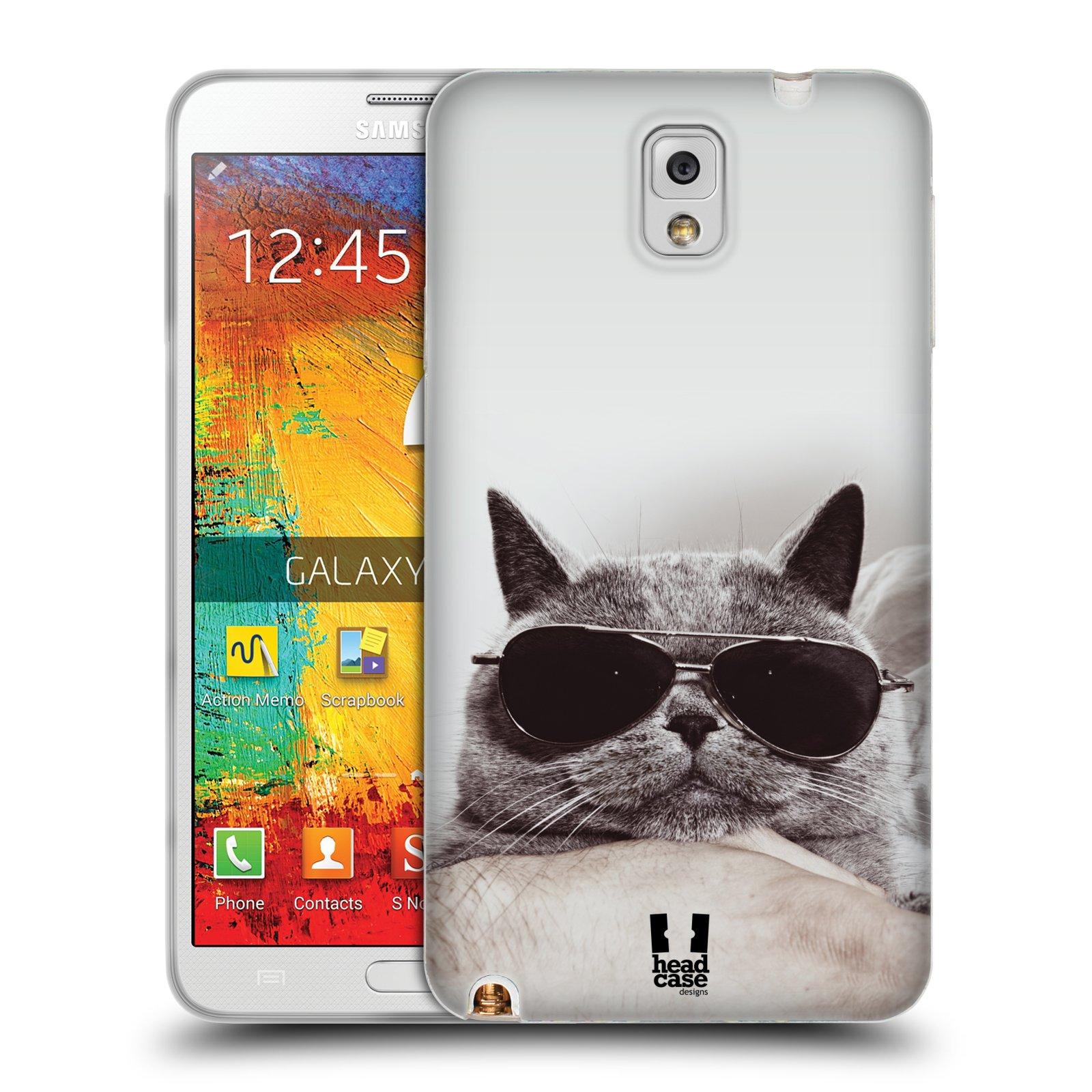 Silikonové pouzdro na mobil Samsung Galaxy Note 3 HEAD CASE KOTĚ S BRÝLEMI (Silikonový kryt či obal na mobilní telefon Samsung Galaxy Note 3 SM-N9005)