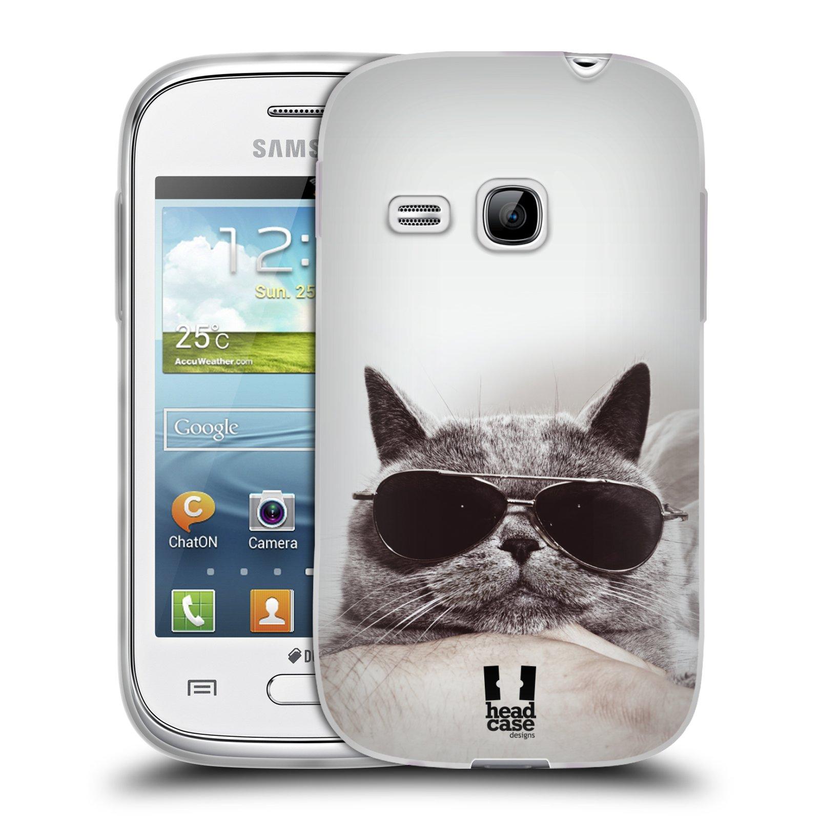 Silikonové pouzdro na mobil Samsung Galaxy Young HEAD CASE KOTĚ S BRÝLEMI (Silikonový kryt či obal na mobilní telefon Samsung Galaxy Young GT-S6310)
