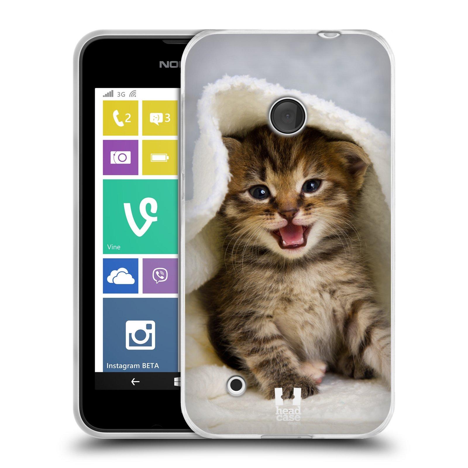 Silikonové pouzdro na mobil Nokia Lumia 530 HEAD CASE KOTĚ V OSUŠCE (Silikonový kryt či obal na mobilní telefon Nokia Lumia 530)