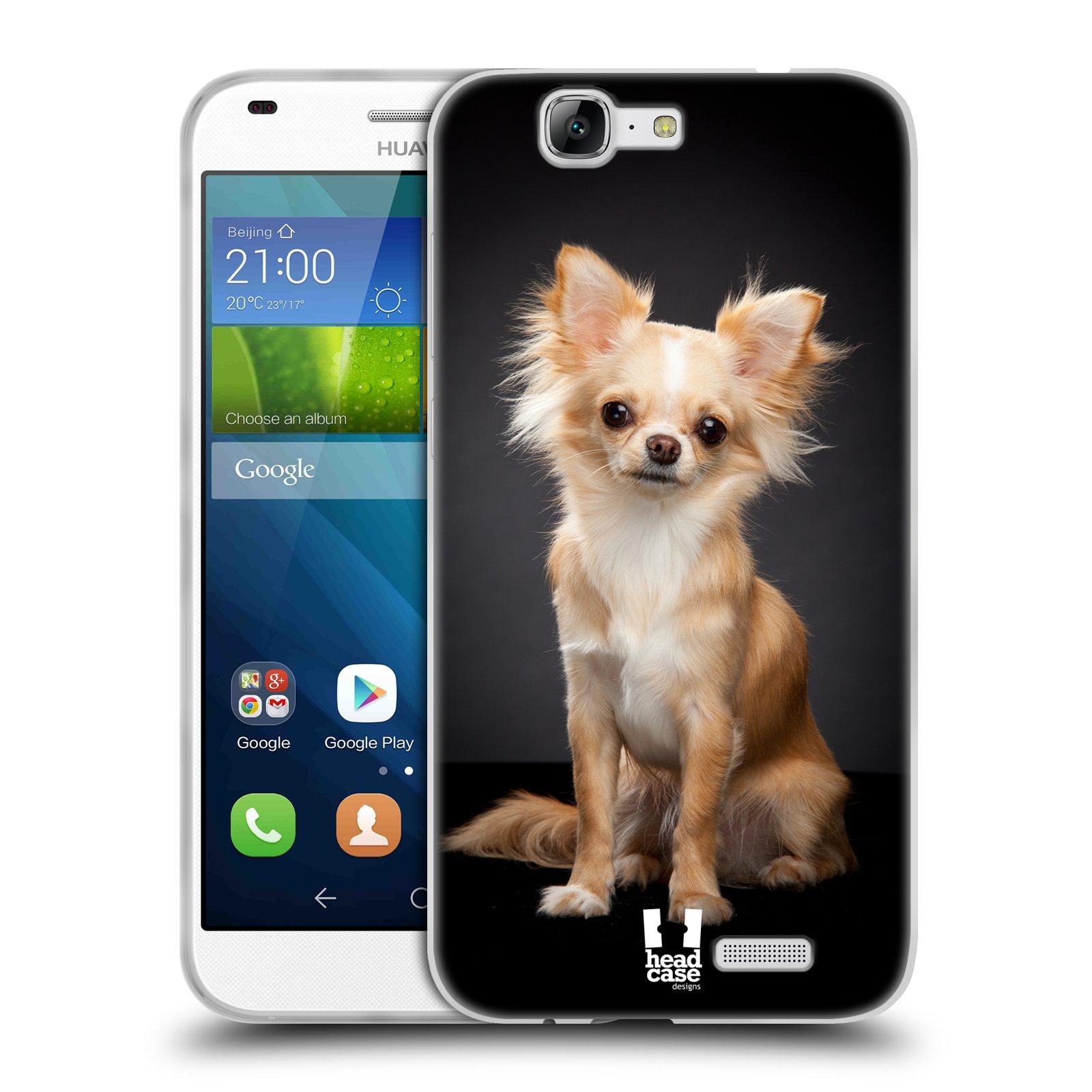 Silikonové pouzdro na mobil Huawei Ascend G7 HEAD CASE ČIVAVA (Silikonový kryt či obal na mobilní telefon Huawei Ascend G7)