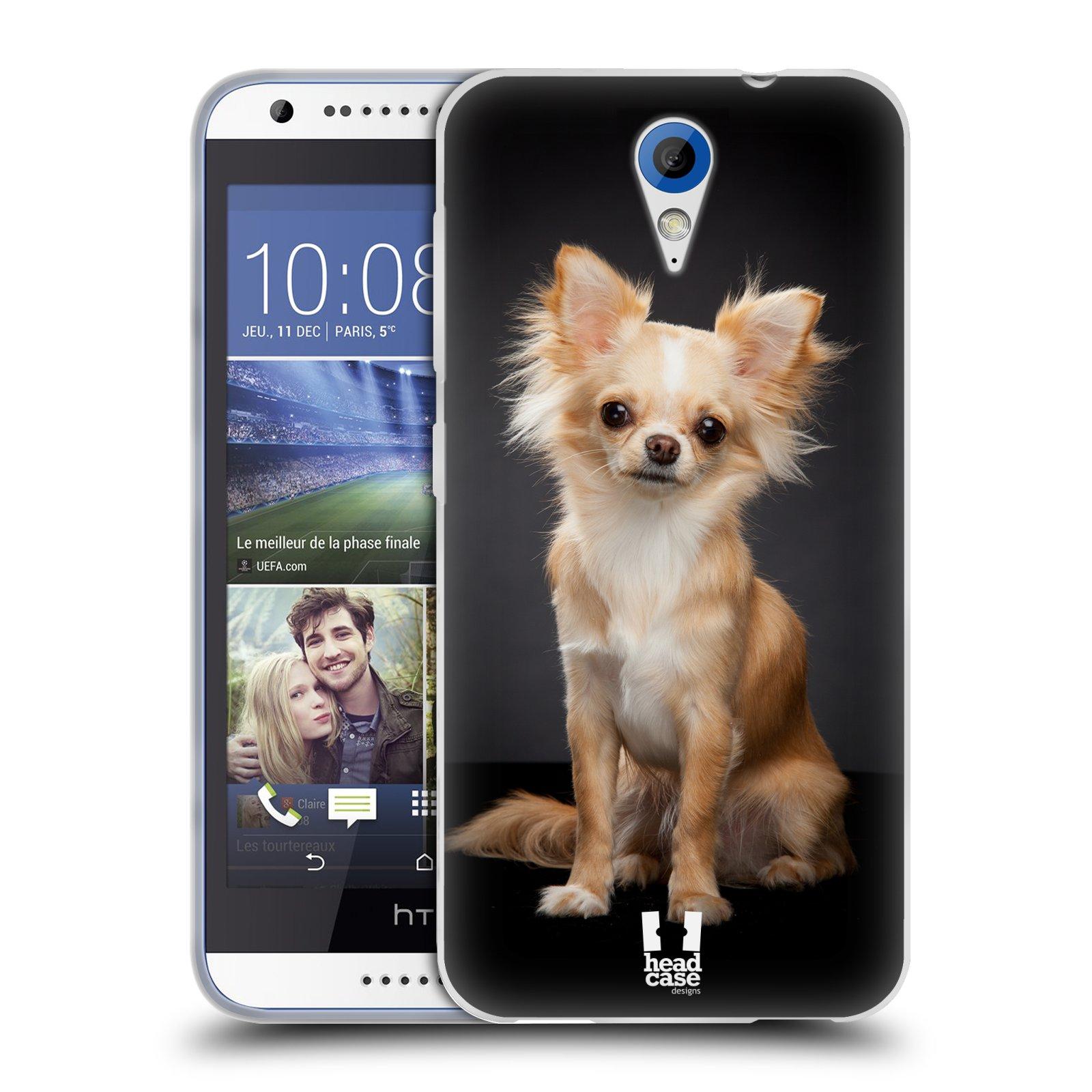 Silikonové pouzdro na mobil HTC Desire 620 HEAD CASE ČIVAVA (Silikonový kryt či obal na mobilní telefon HTC Desire 620)