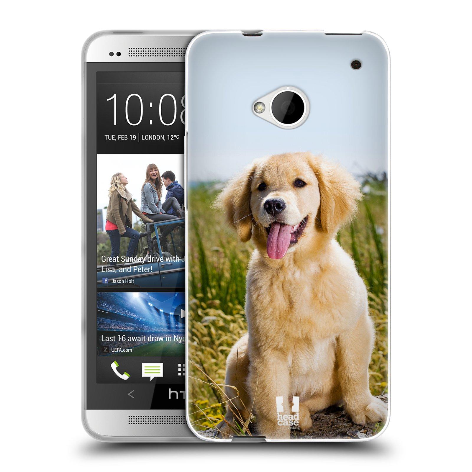 Silikonové pouzdro na mobil HTC ONE M7 HEAD CASE RETRÍVR (Silikonový kryt či obal na mobilní telefon HTC ONE M7)