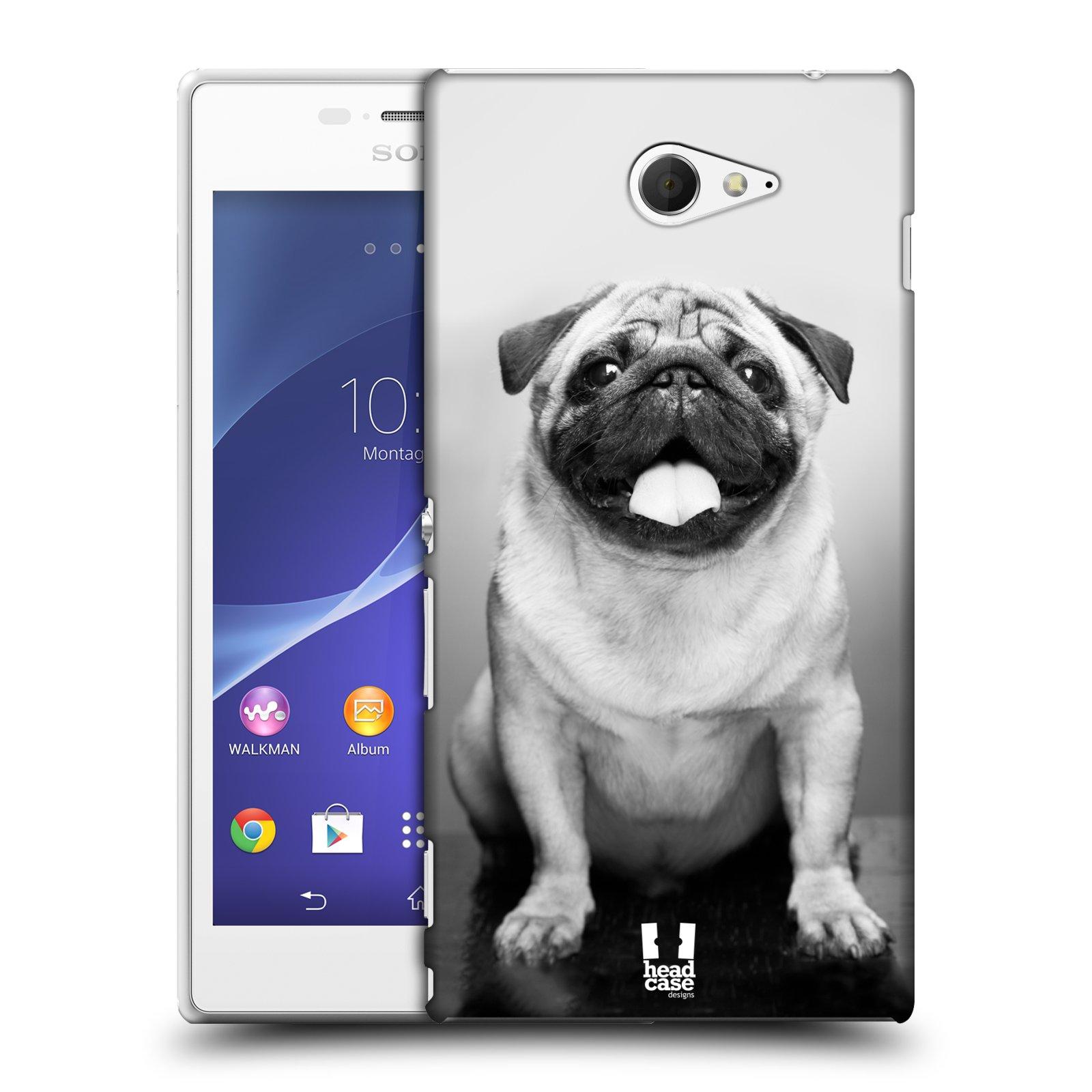 Plastové pouzdro na mobil Sony Xperia M2 D2303 HEAD CASE MOPSÍK (Kryt či obal na mobilní telefon Sony Xperia M2 )