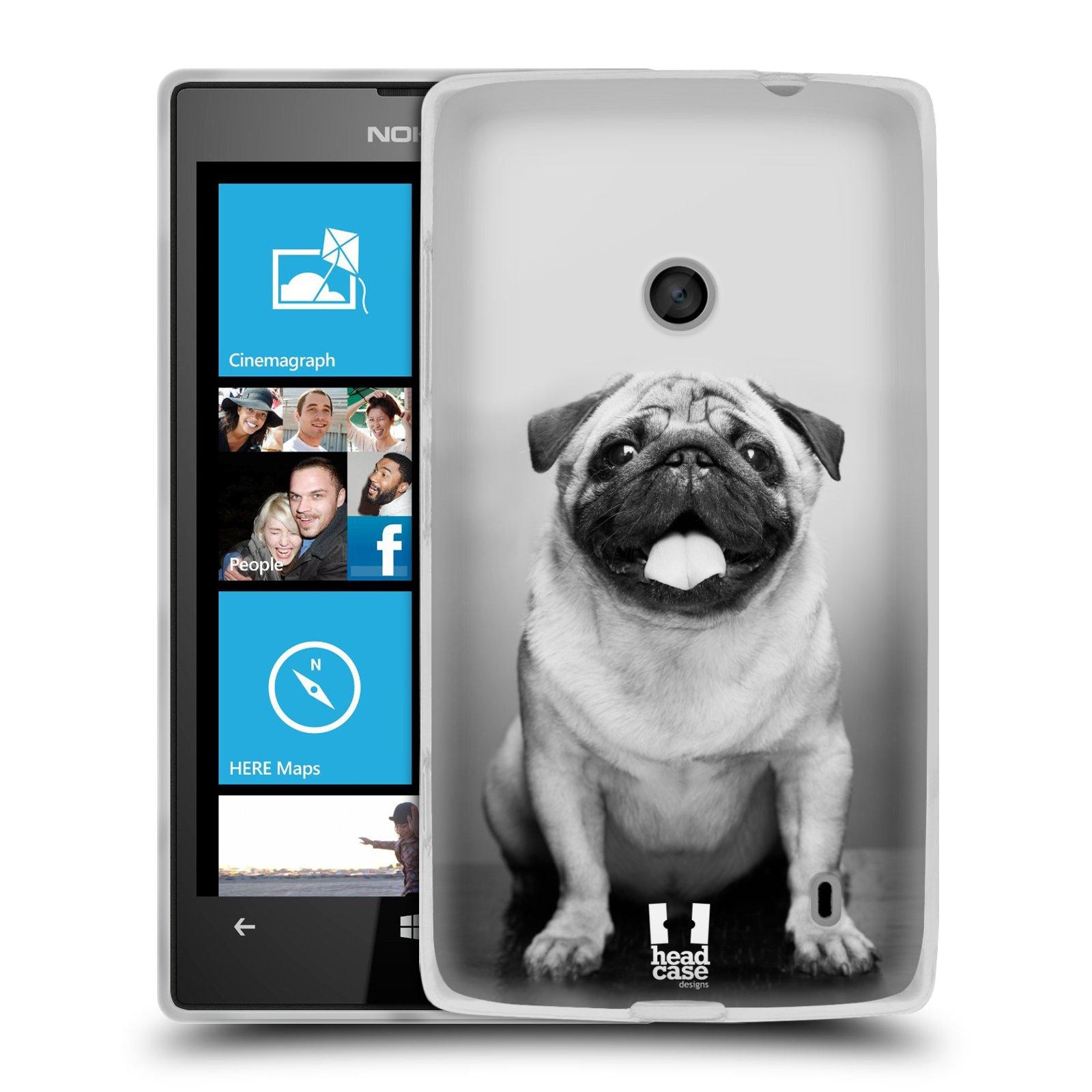 Silikonové pouzdro na mobil Nokia Lumia 520 HEAD CASE MOPSÍK (Silikonový Kryt či obal na mobilní telefon Nokia Lumia 520)