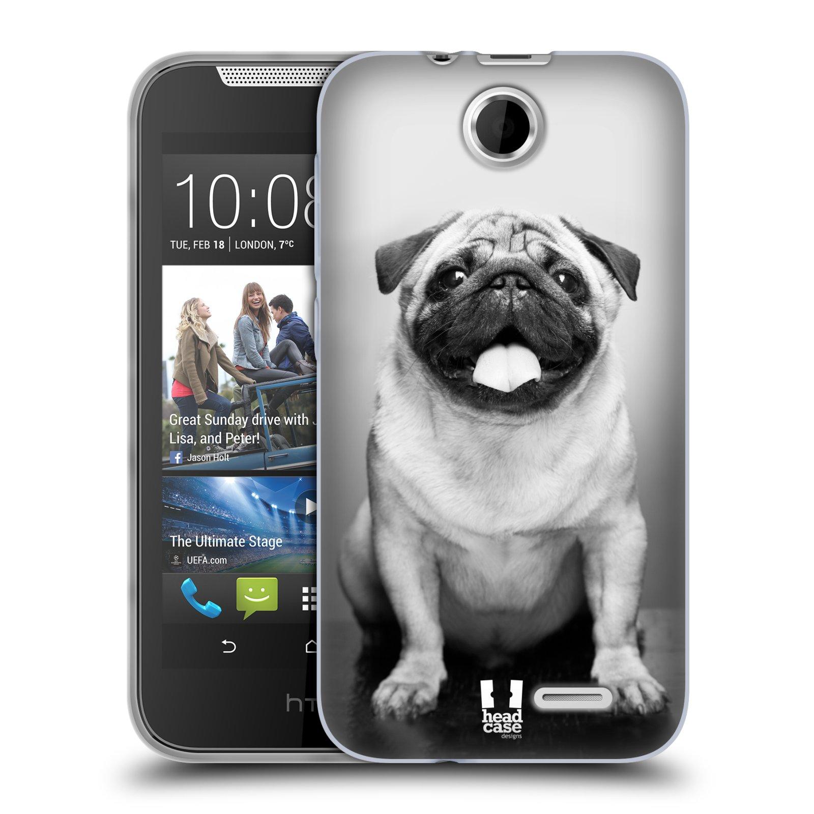 Silikonové pouzdro na mobil HTC Desire 310 HEAD CASE MOPSÍK (Silikonový kryt či obal na mobilní telefon HTC Desire 310)