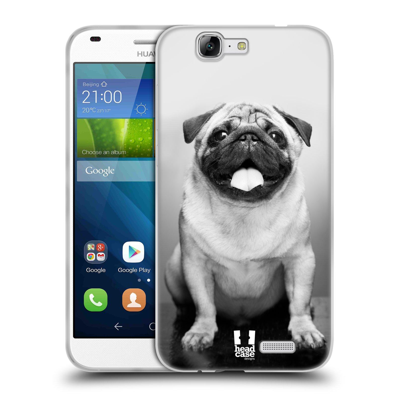 Silikonové pouzdro na mobil Huawei Ascend G7 HEAD CASE MOPSÍK (Silikonový kryt či obal na mobilní telefon Huawei Ascend G7)
