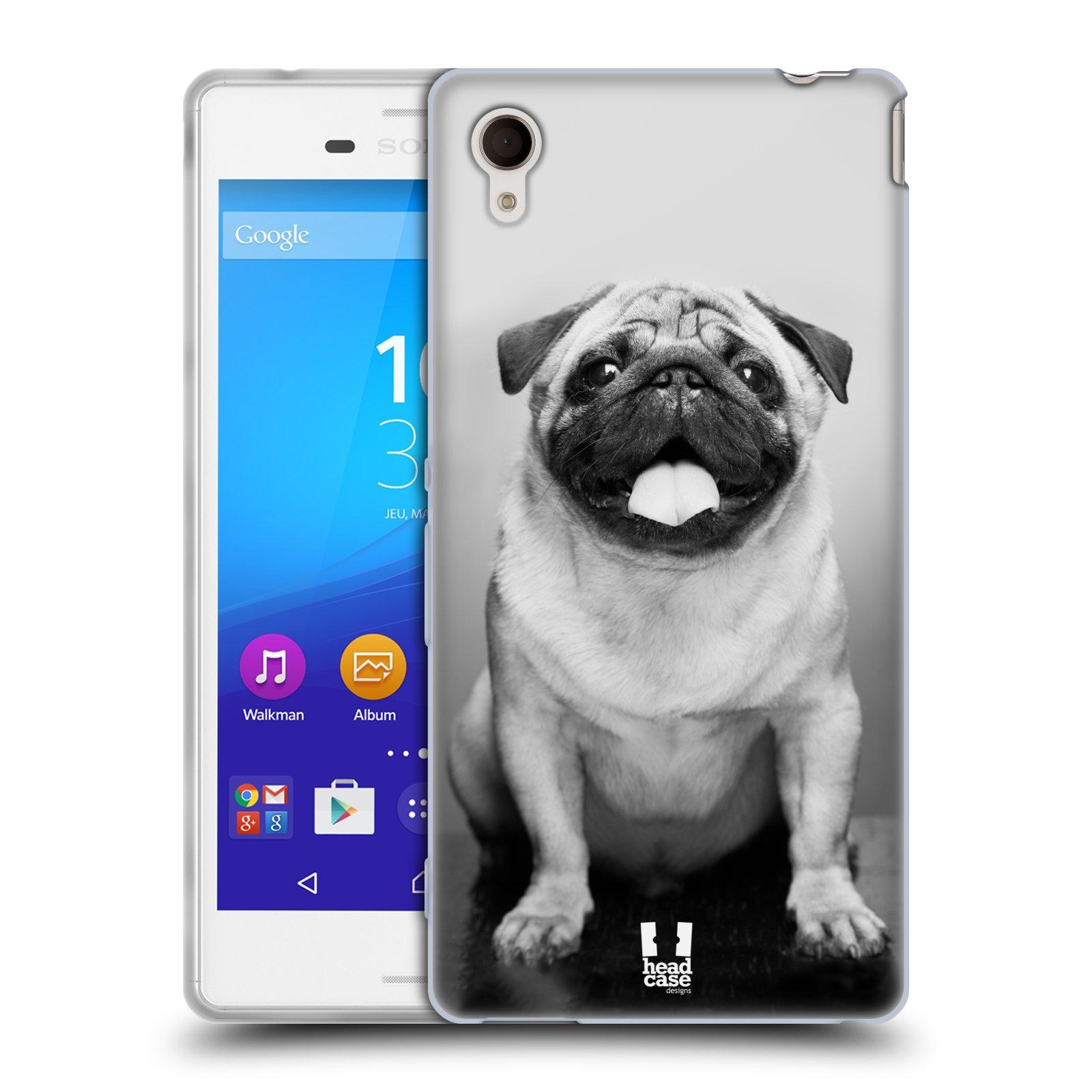 Silikonové pouzdro na mobil Sony Xperia M4 Aqua E2303 HEAD CASE MOPSÍK (Silikonový kryt či obal na mobilní telefon Sony Xperia M4 Aqua a M4 Aqua Dual SIM)