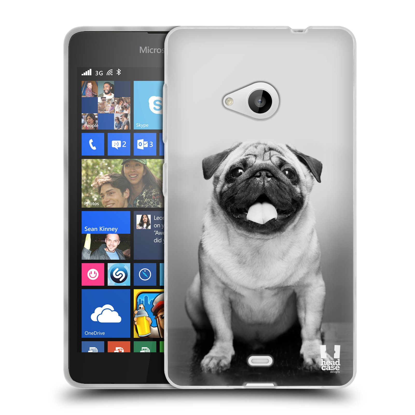 Silikonové pouzdro na mobil Microsoft Lumia 535 HEAD CASE MOPSÍK (Silikonový kryt či obal na mobilní telefon Microsoft Lumia 535)