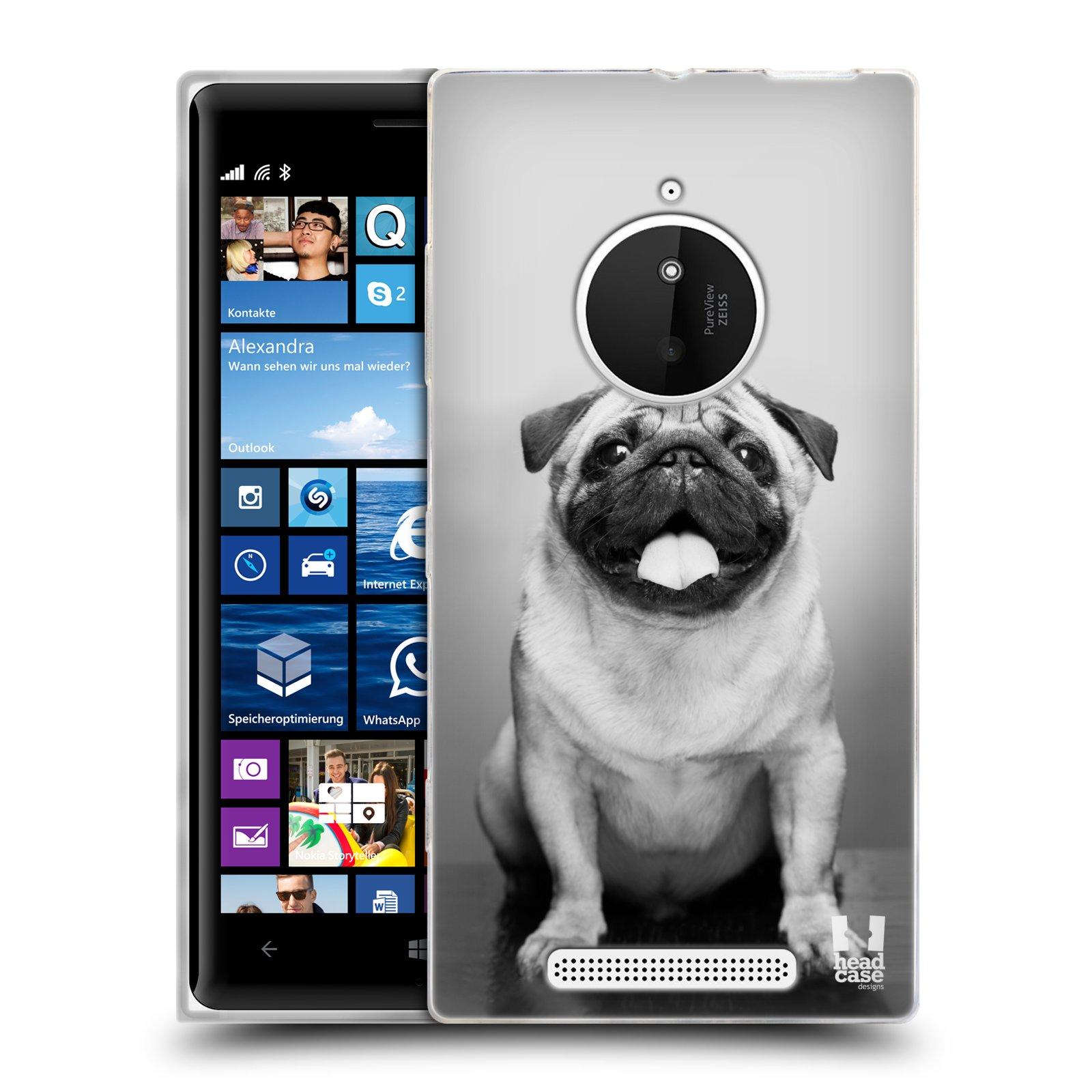 Silikonové pouzdro na mobil Nokia Lumia 830 HEAD CASE MOPSÍK (Silikonový kryt či obal na mobilní telefon Nokia Lumia 830)