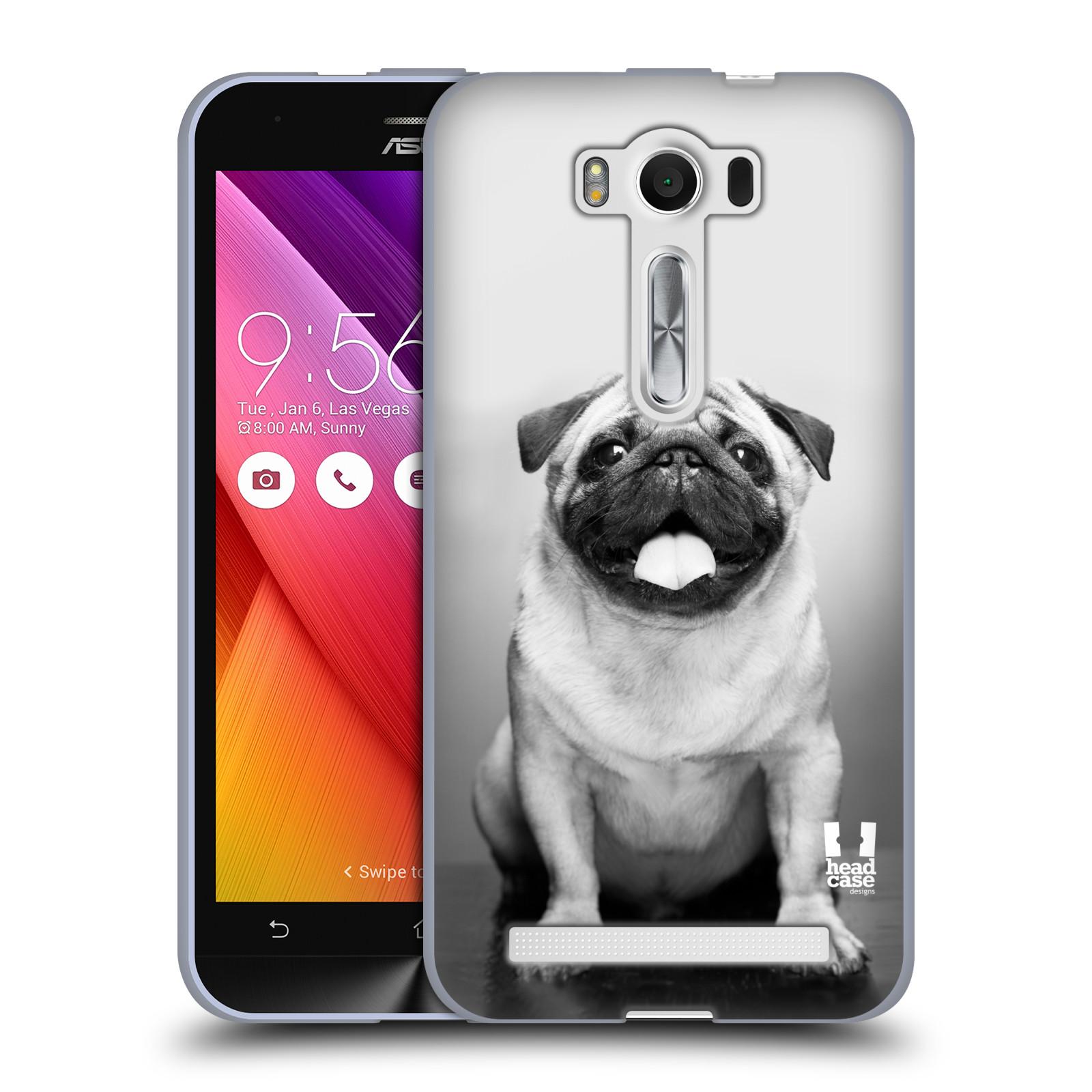 "Silikonové pouzdro na mobil Asus ZenFone 2 Laser ZE500KL HEAD CASE MOPSÍK (Silikonový kryt či obal na mobilní telefon Asus ZenFone 2 Laser ZE500KL s 5"" displejem)"