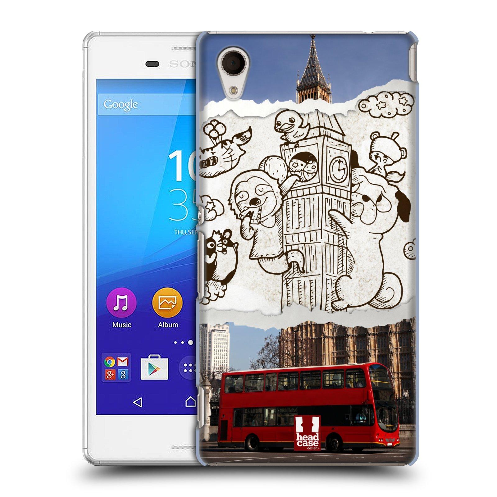 Plastové pouzdro na mobil Sony Xperia M4 Aqua E2303 HEAD CASE DOODLE TRIP LONDÝN (Kryt či obal na mobilní telefon Sony Xperia M4 Aqua a M4 Aqua Dual SIM)