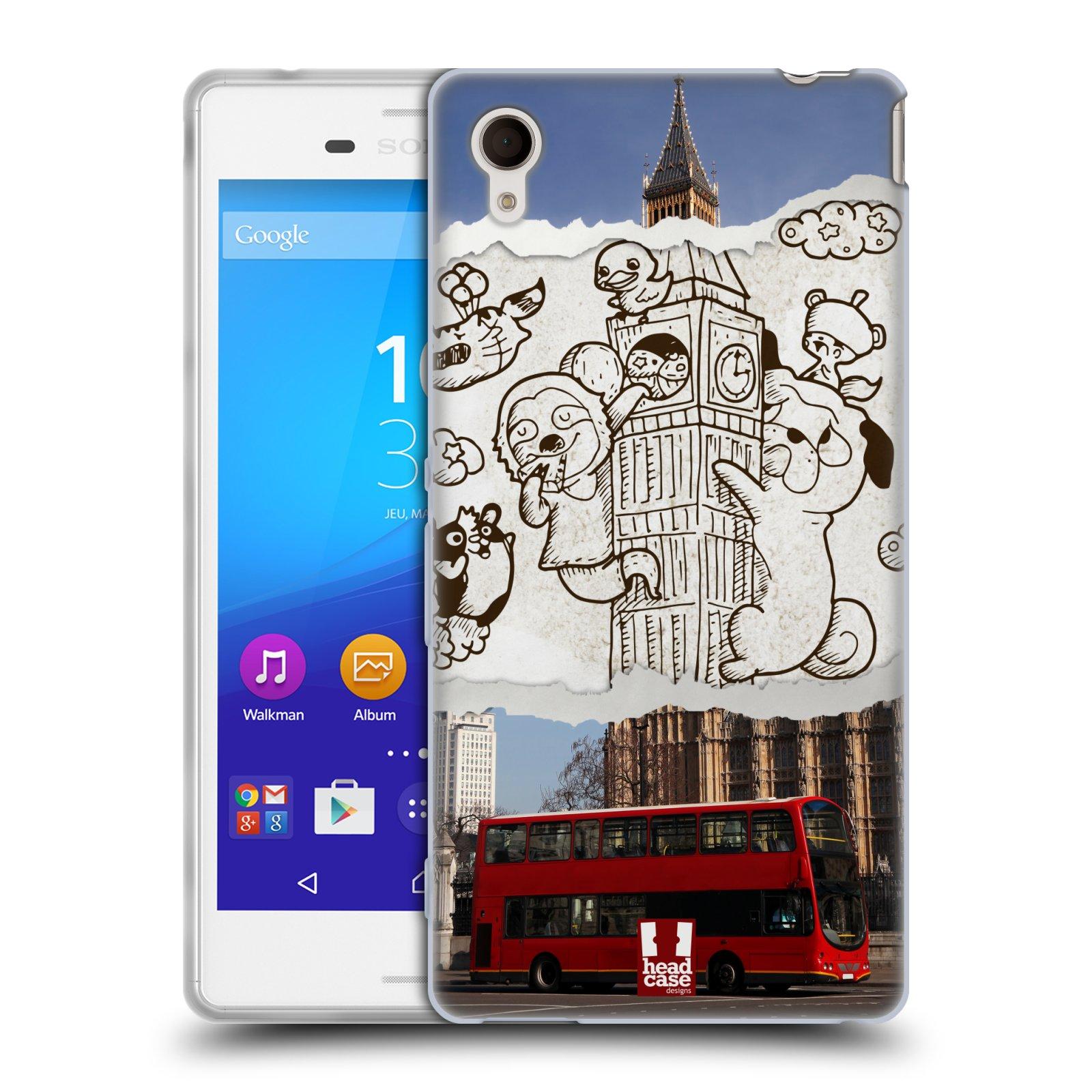 Silikonové pouzdro na mobil Sony Xperia M4 Aqua E2303 HEAD CASE DOODLE TRIP LONDÝN (Silikonový kryt či obal na mobilní telefon Sony Xperia M4 Aqua a M4 Aqua Dual SIM)