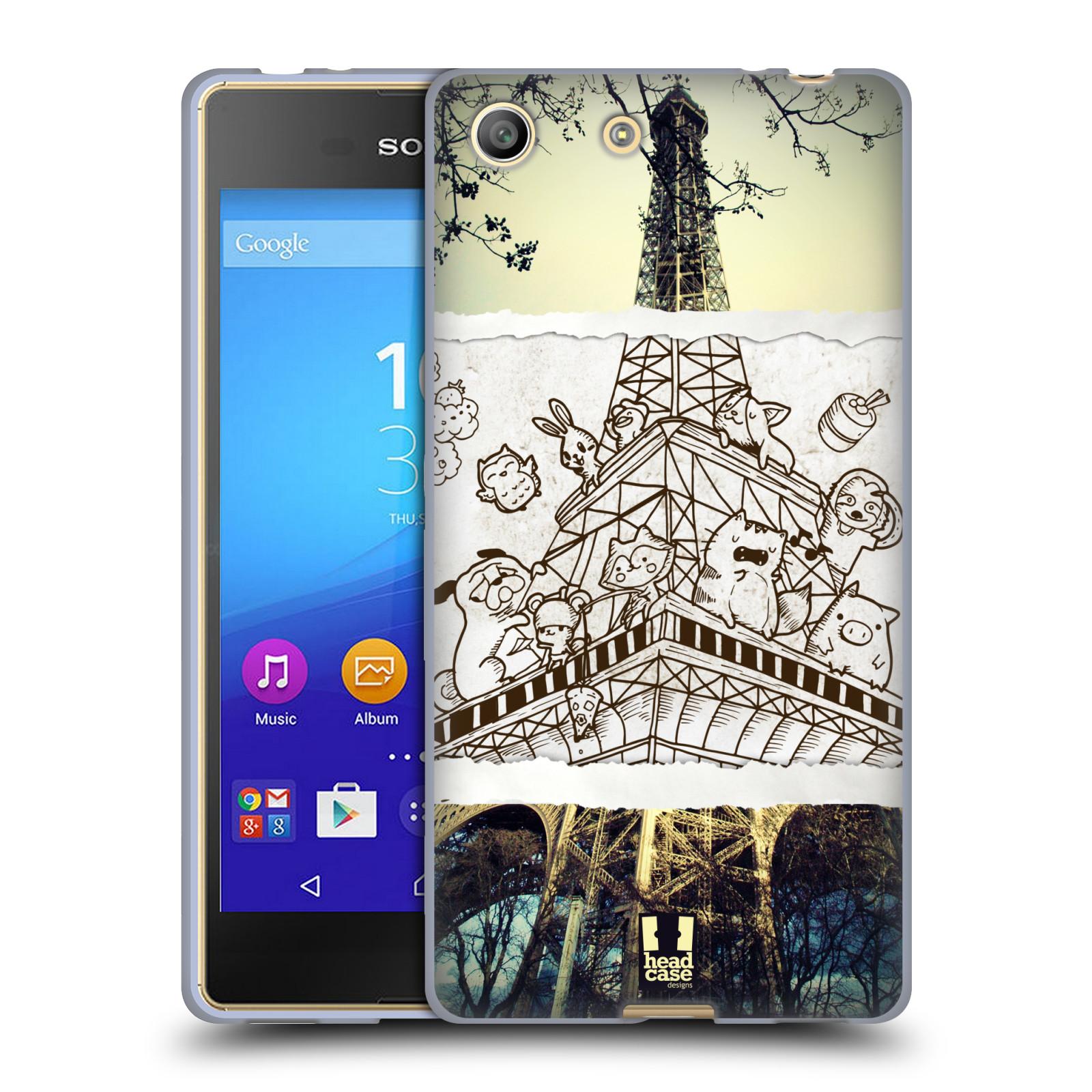 Silikonové pouzdro na mobil Sony Xperia M5 HEAD CASE DOODLE TRIP PAŘÍŽ (Silikonový kryt či obal na mobilní telefon Sony Xperia M5 Dual SIM / Aqua)