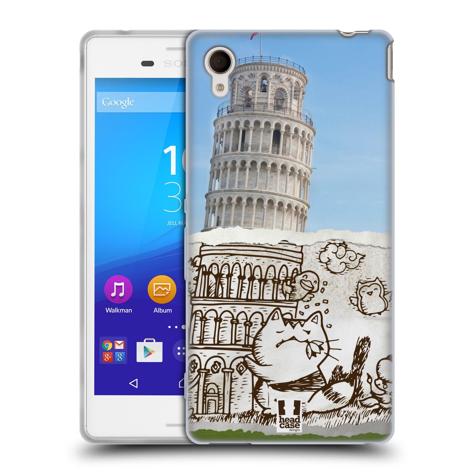 Silikonové pouzdro na mobil Sony Xperia M4 Aqua E2303 HEAD CASE DOODLE TRIP PISA (Silikonový kryt či obal na mobilní telefon Sony Xperia M4 Aqua a M4 Aqua Dual SIM)
