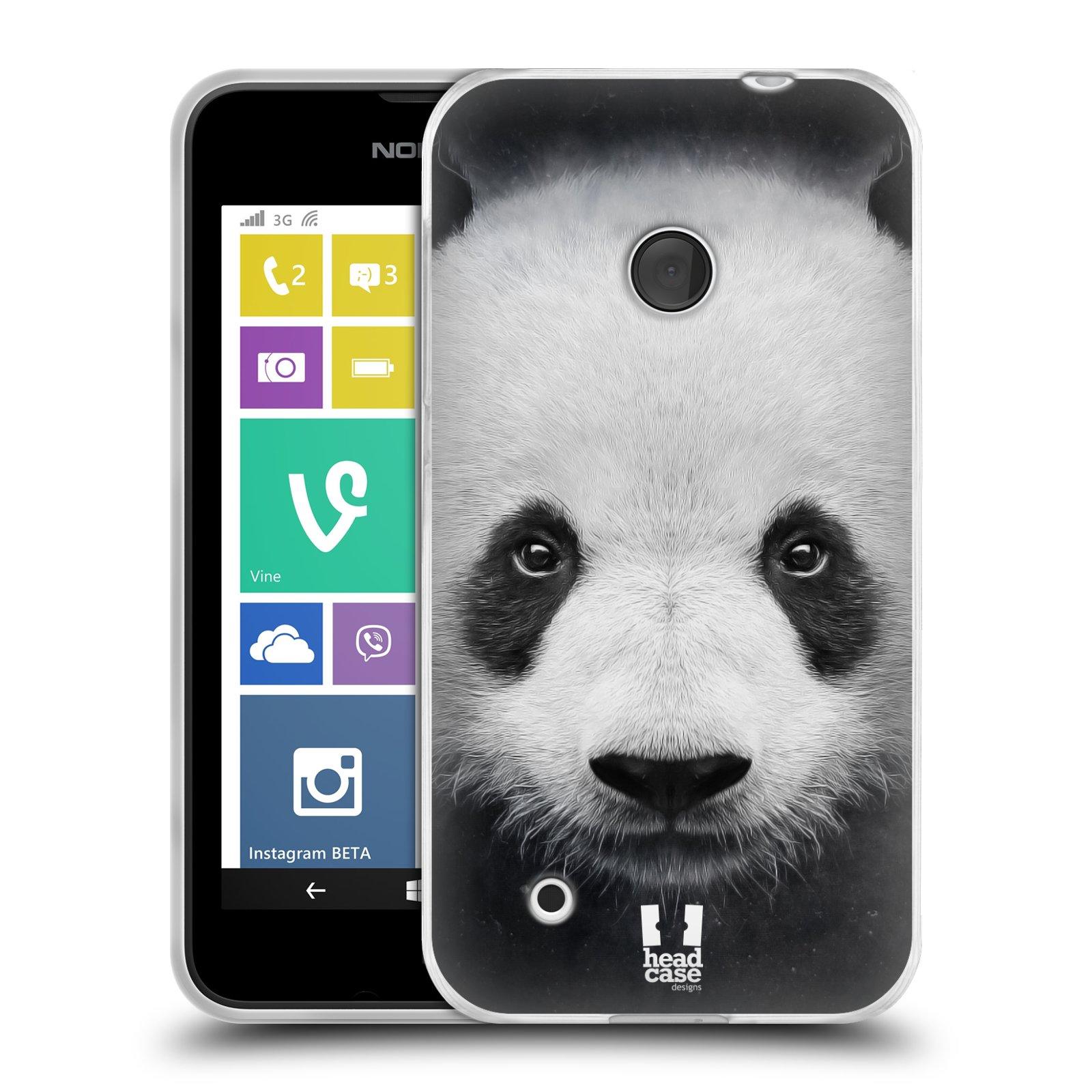 Silikonové pouzdro na mobil Nokia Lumia 530 HEAD CASE TVÁŘ PANDA (Silikonový kryt či obal na mobilní telefon Nokia Lumia 530)