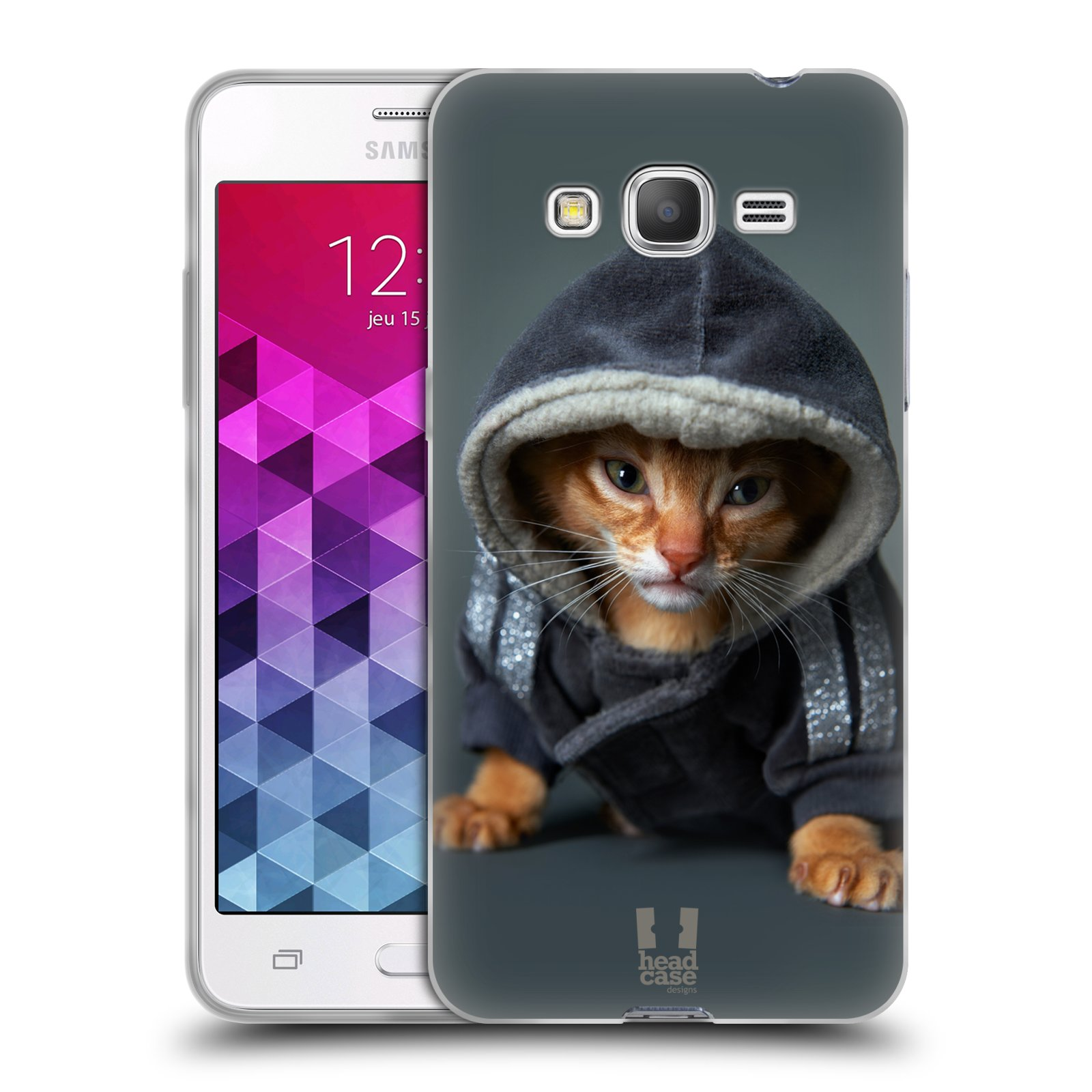 Silikonové pouzdro na mobil Samsung Galaxy Grand Prime VE HEAD CASE KOTĚ V MIKČE