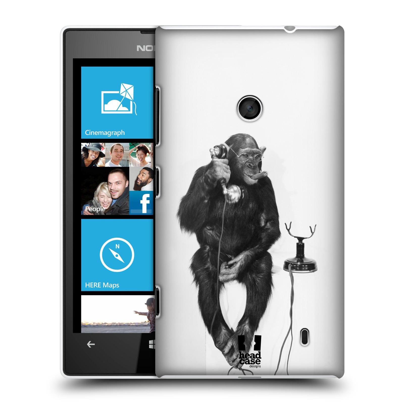 Plastové pouzdro na mobil Nokia Lumia 520 HEAD CASE OPIČÁK S TELEFONEM (Kryt či obal na mobilní telefon Nokia Lumia 520 )
