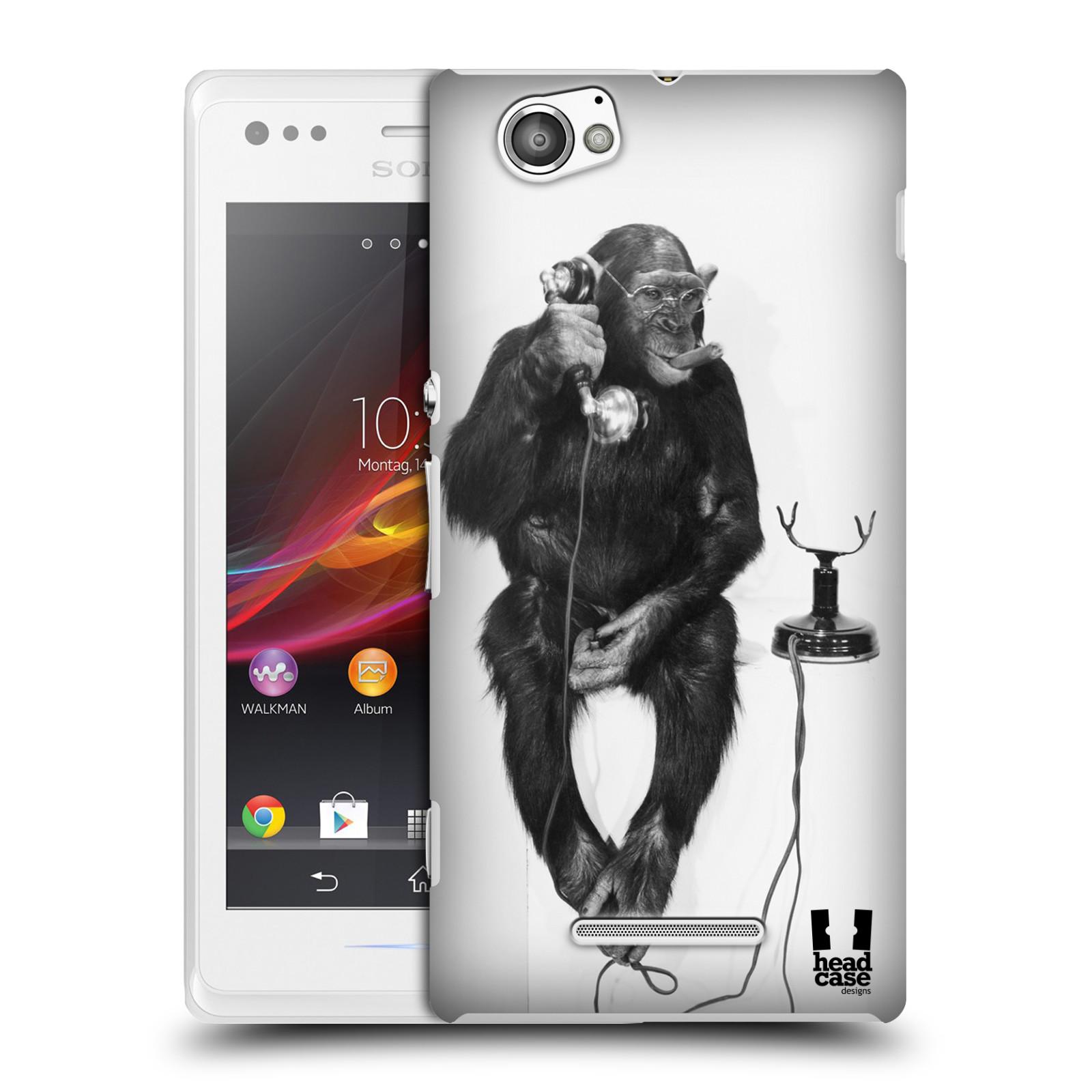 Plastové pouzdro na mobil Sony Xperia M C1905 HEAD CASE OPIČÁK S TELEFONEM (Kryt či obal na mobilní telefon Sony Xperia M a M Dual)