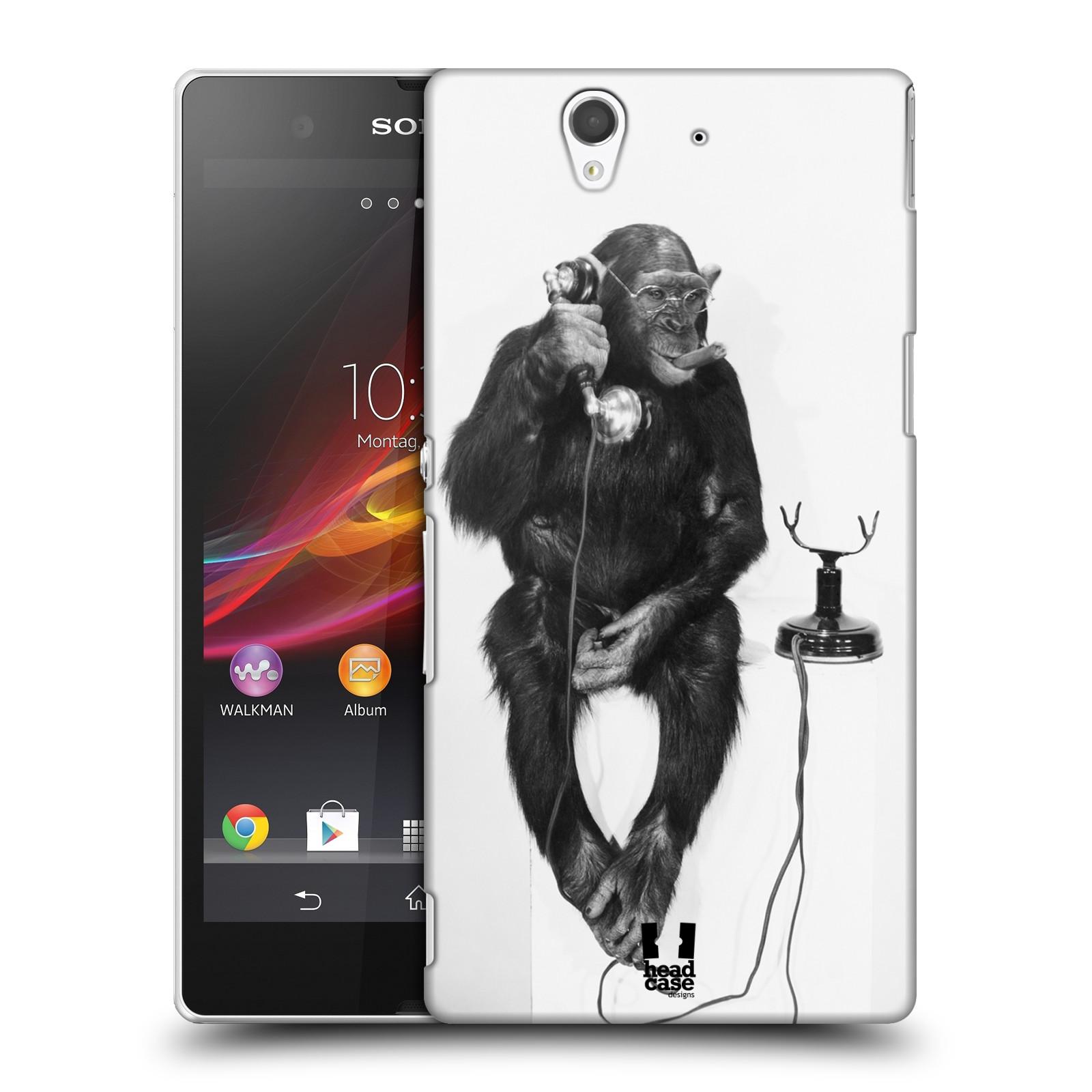 Plastové pouzdro na mobil Sony Xperia Z C6603 HEAD CASE OPIČÁK S TELEFONEM (Kryt či obal na mobilní telefon Sony Xperia Z )
