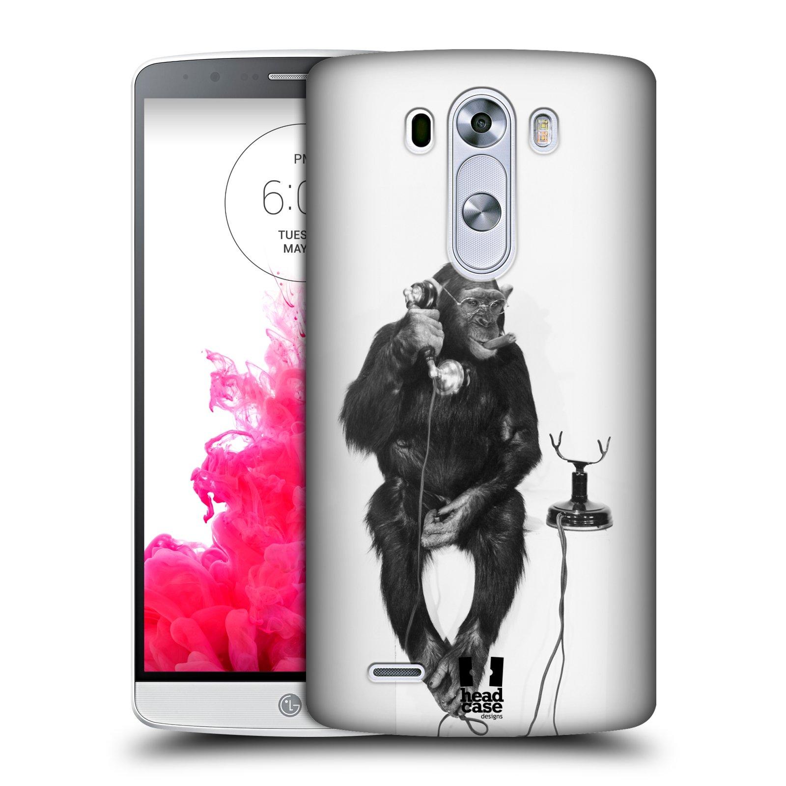 Plastové pouzdro na mobil LG G3 HEAD CASE OPIČÁK S TELEFONEM (Kryt či obal na mobilní telefon LG G3 D855)