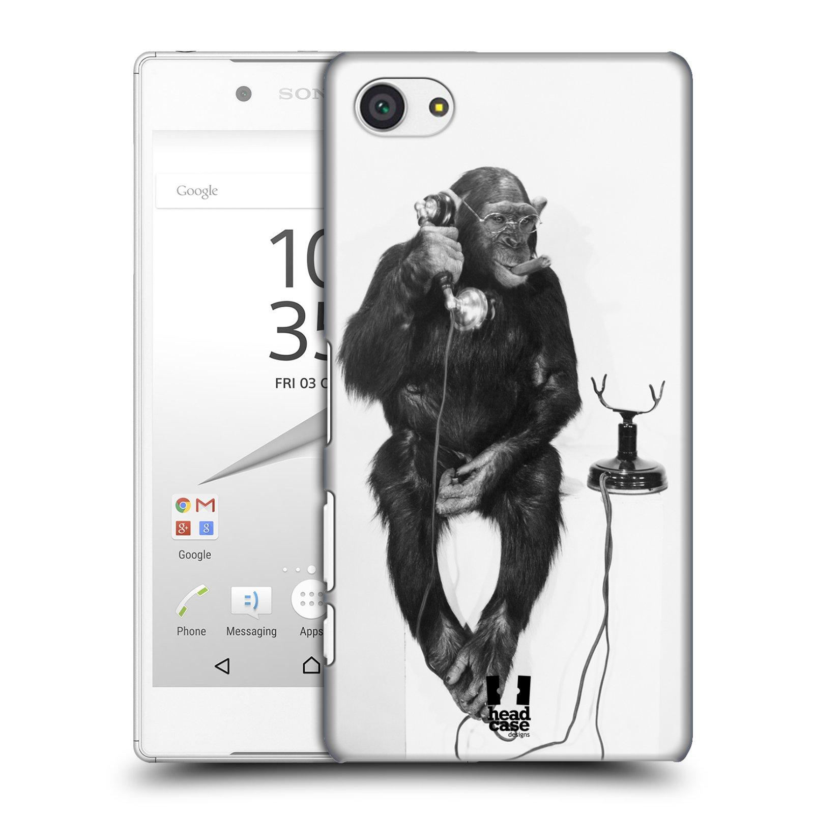 Plastové pouzdro na mobil Sony Xperia Z5 Compact HEAD CASE OPIČÁK S TELEFONEM (Kryt či obal na mobilní telefon Sony Xperia Z5 Compact E5823)