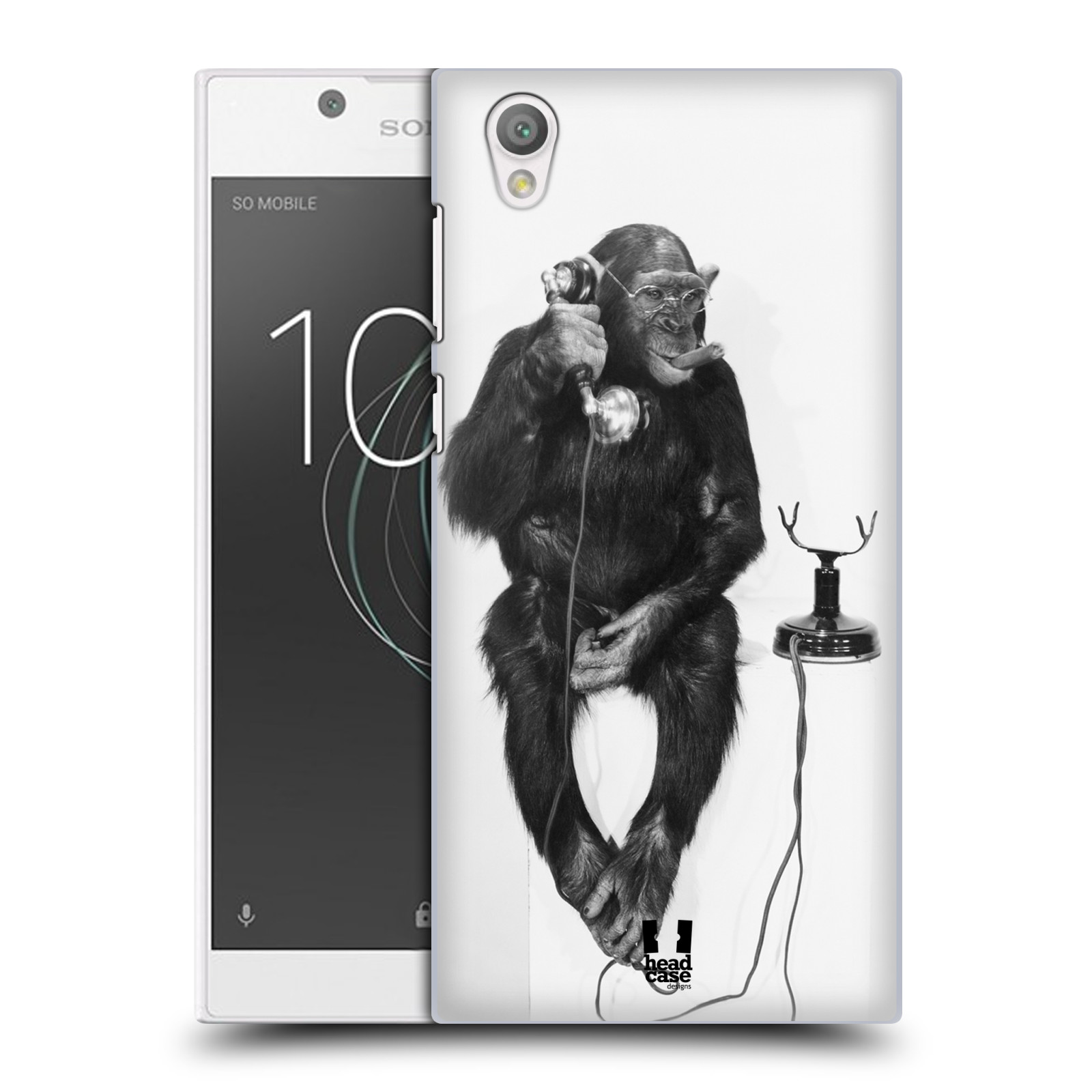 Plastové pouzdro na mobil Sony Xperia L1 - Head Case - OPIČÁK S TELEFONEM (Plastový kryt či obal na mobilní telefon Sony Xperia L1 G3311 s motivem OPIČÁK S TELEFONEM)