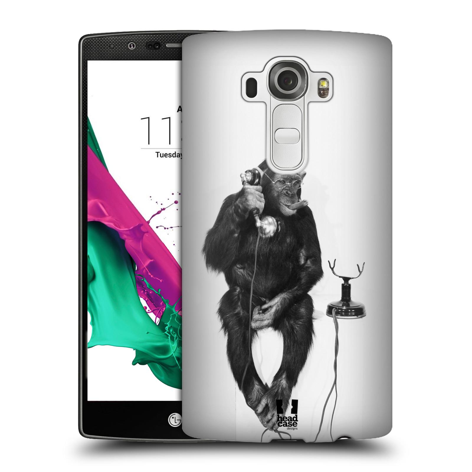 Plastové pouzdro na mobil LG G4 HEAD CASE OPIČÁK S TELEFONEM (Kryt či obal na mobilní telefon LG G4 H815)