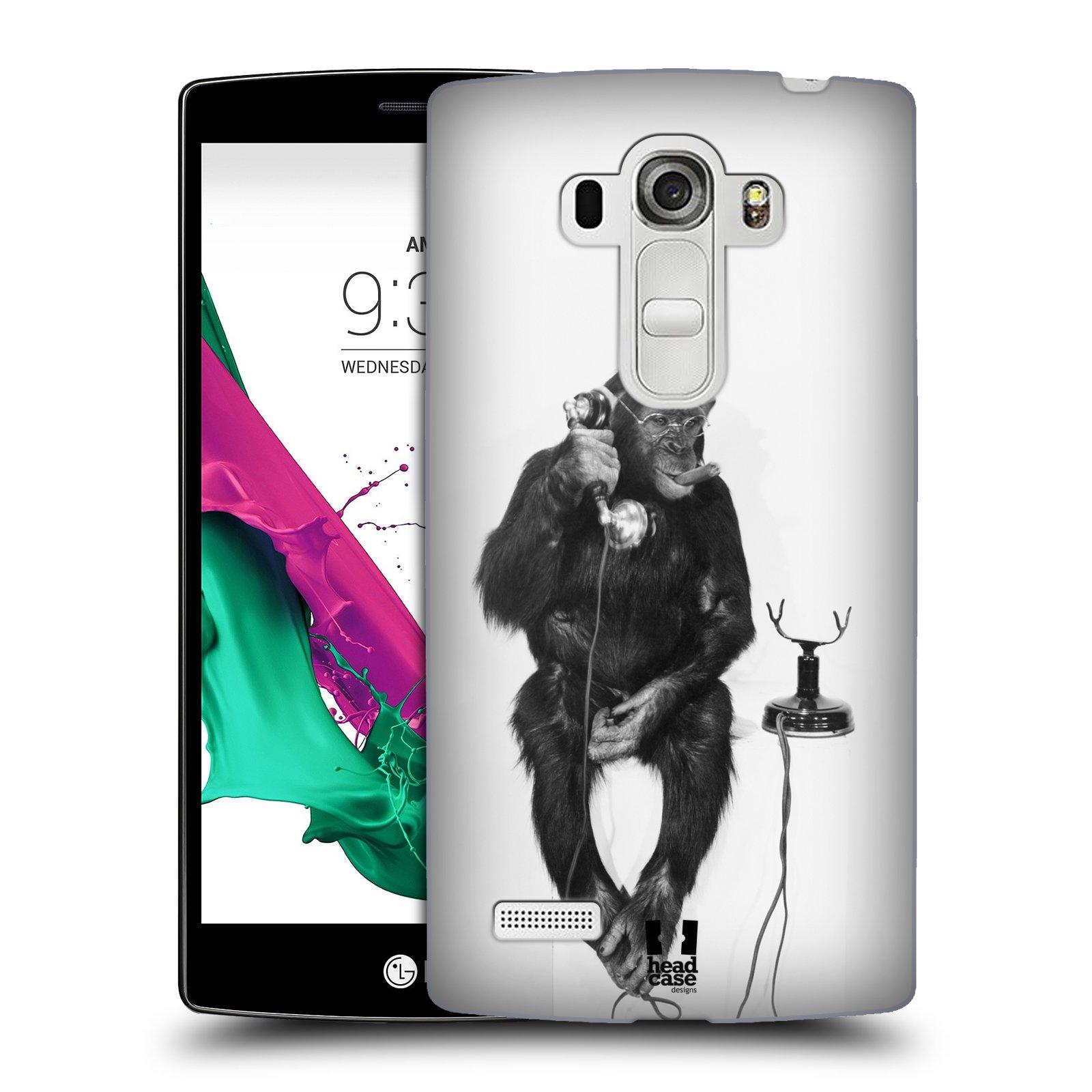Plastové pouzdro na mobil LG G4s HEAD CASE OPIČÁK S TELEFONEM (Kryt či obal na mobilní telefon LG G4s H735n)