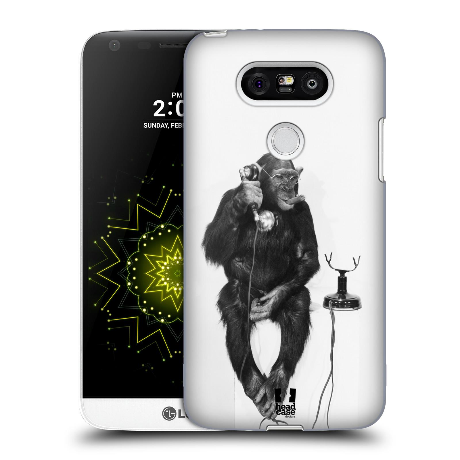 Plastové pouzdro na mobil LG G5 HEAD CASE OPIČÁK S TELEFONEM (Kryt či obal na mobilní telefon LG G5 H850)