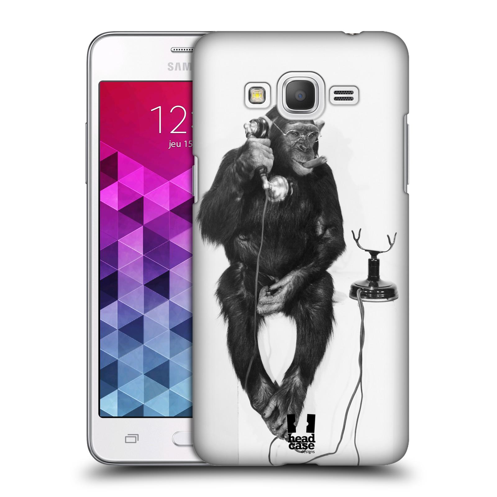Plastové pouzdro na mobil Samsung Galaxy Grand Prime VE HEAD CASE OPIČÁK S TELEFONEM (Kryt či obal na mobilní telefon Samsung Galaxy Grand Prime VE SM-G531F)