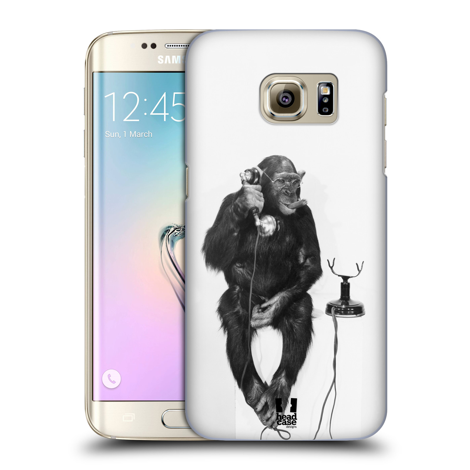 Plastové pouzdro na mobil Samsung Galaxy S7 Edge HEAD CASE OPIČÁK S TELEFONEM (Kryt či obal na mobilní telefon Samsung Galaxy S7 Edge SM-G935F)