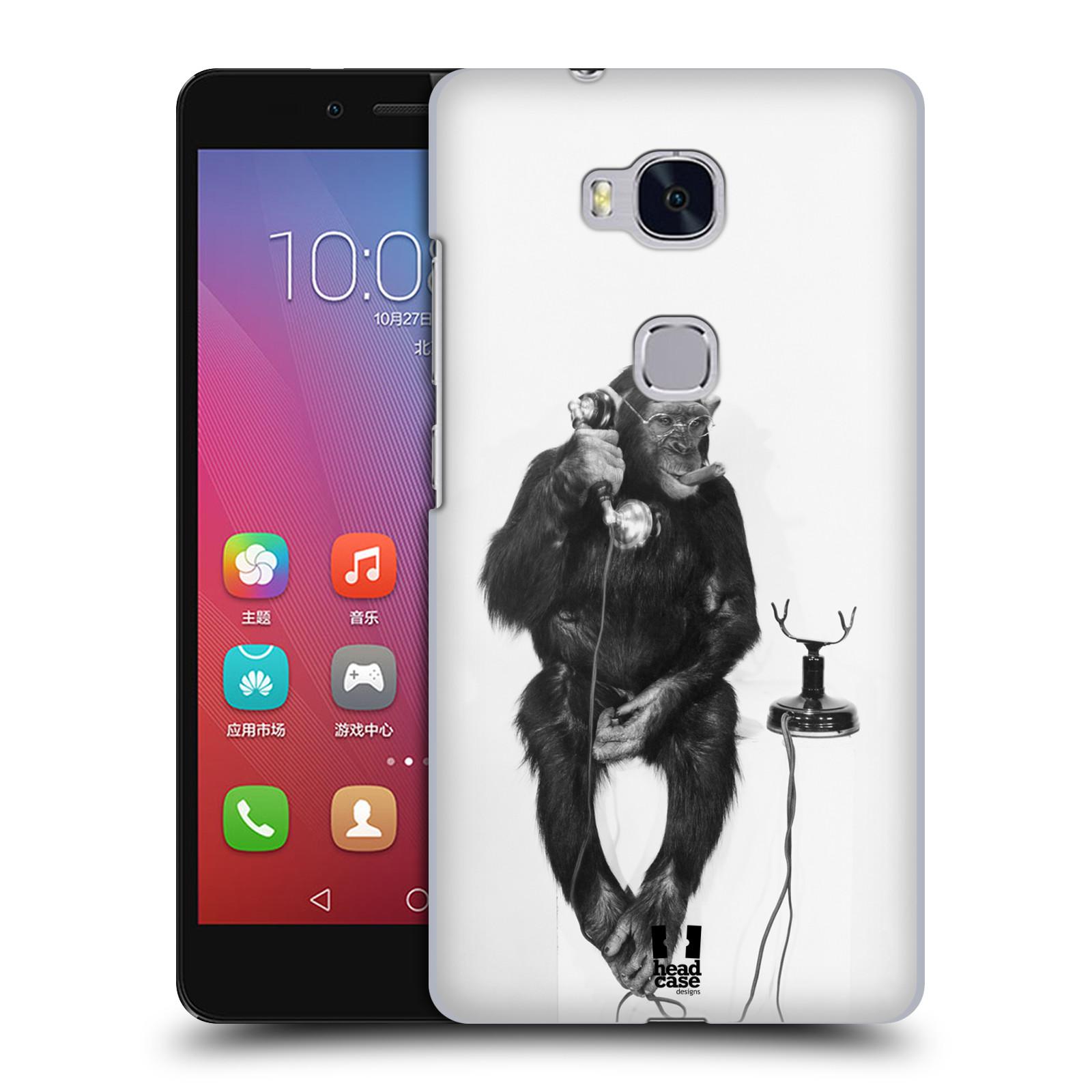 Plastové pouzdro na mobil Honor 5X HEAD CASE OPIČÁK S TELEFONEM (Kryt či obal na mobilní telefon Huawei Honor 5X)