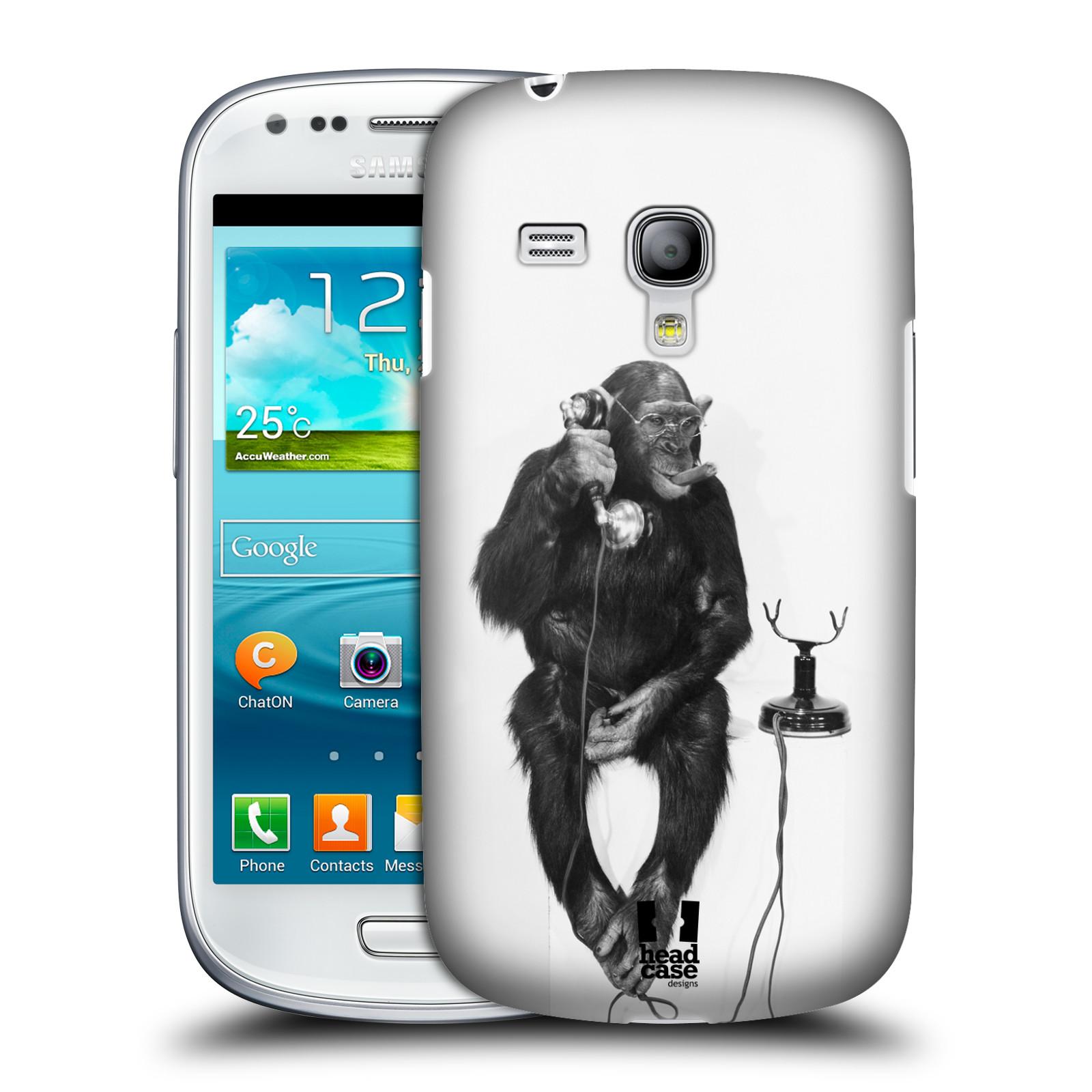 Plastové pouzdro na mobil Samsung Galaxy S III Mini HEAD CASE OPIČÁK S TELEFONEM (Kryt či obal na mobilní telefon Samsung Galaxy S III Mini GT-i8190)