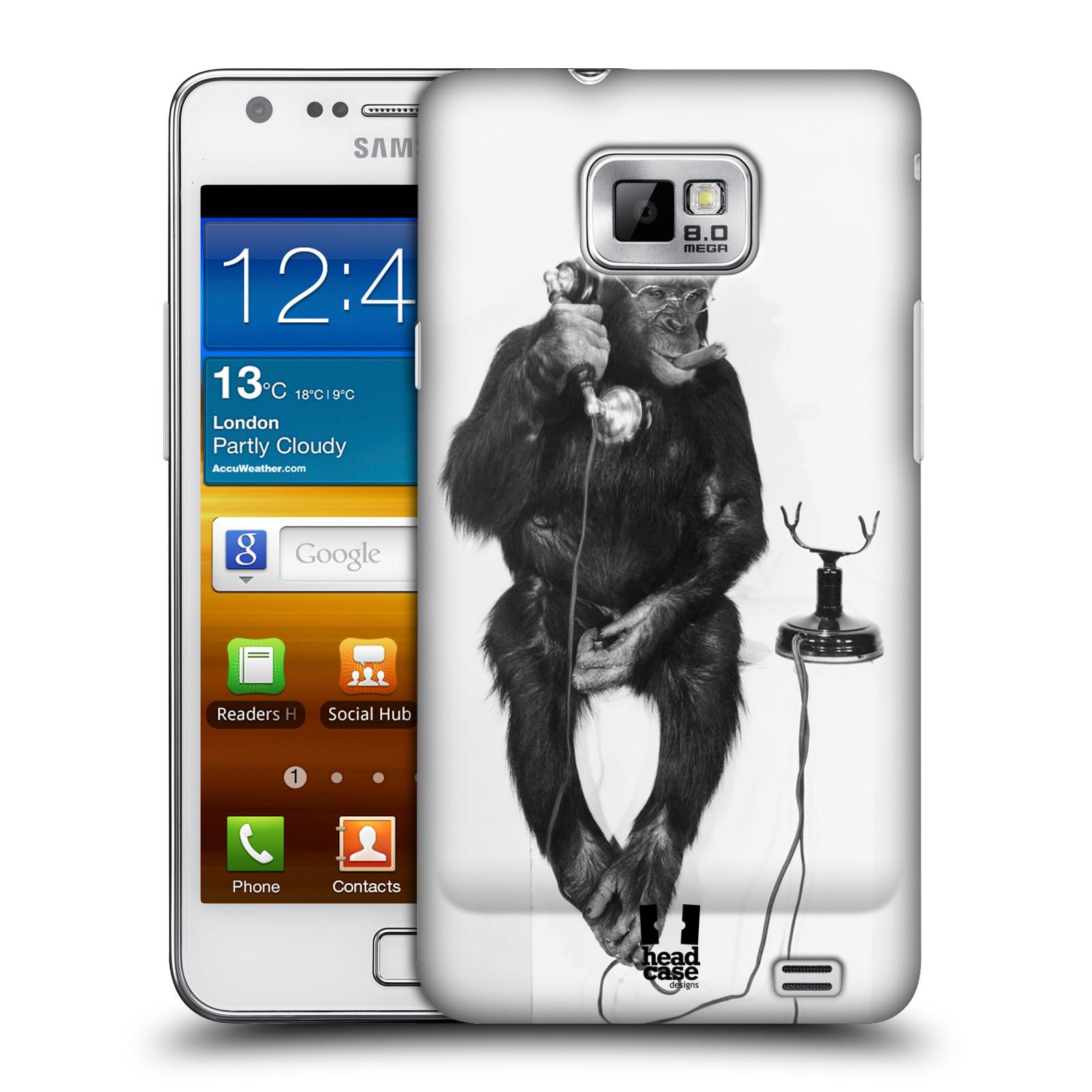 Plastové pouzdro na mobil Samsung Galaxy S II HEAD CASE OPIČÁK S TELEFONEM (Kryt či obal na mobilní telefon Samsung Galaxy S II GT-i9100)
