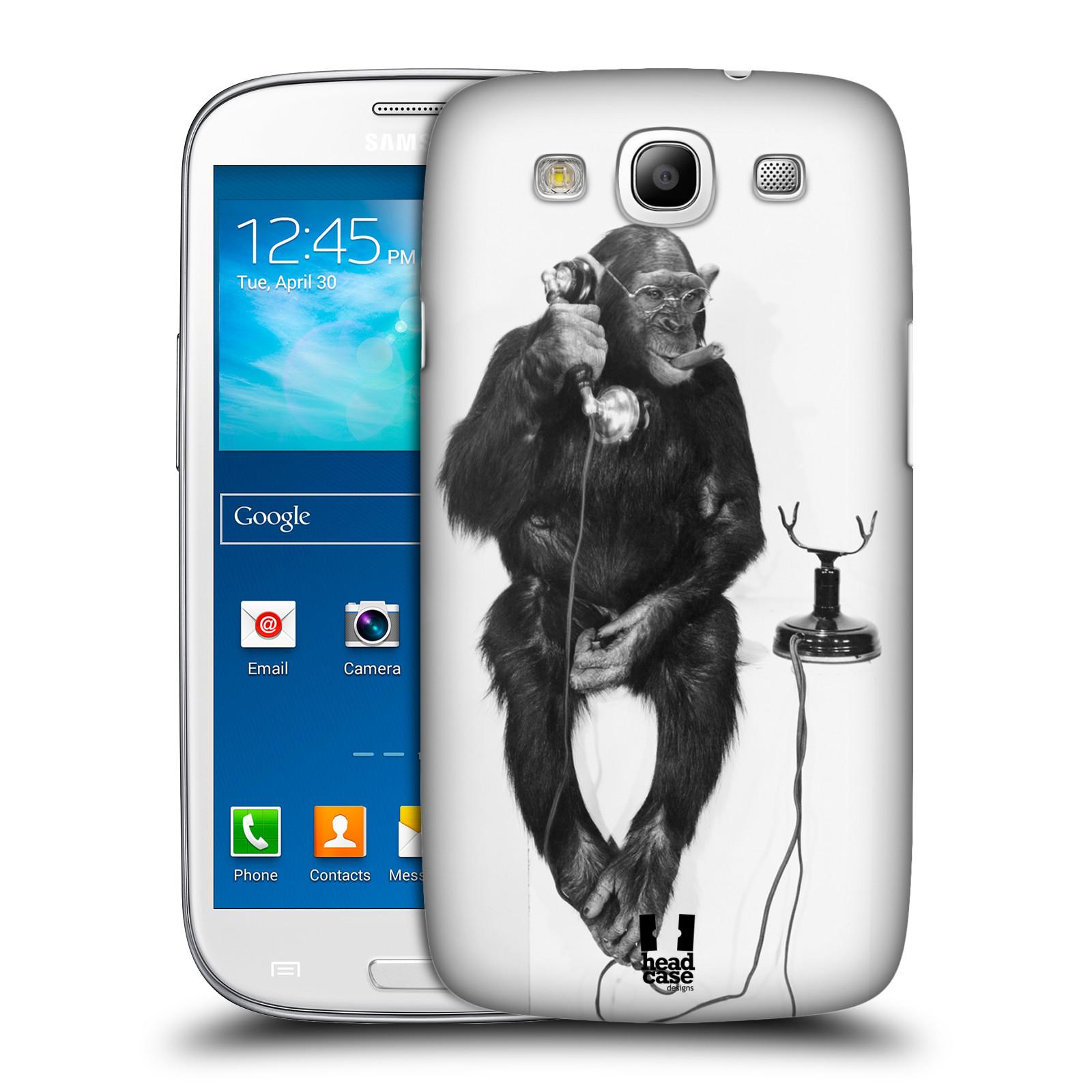 Plastové pouzdro na mobil Samsung Galaxy S III HEAD CASE OPIČÁK S TELEFONEM (Kryt či obal na mobilní telefon Samsung Galaxy S III GT-i9300)