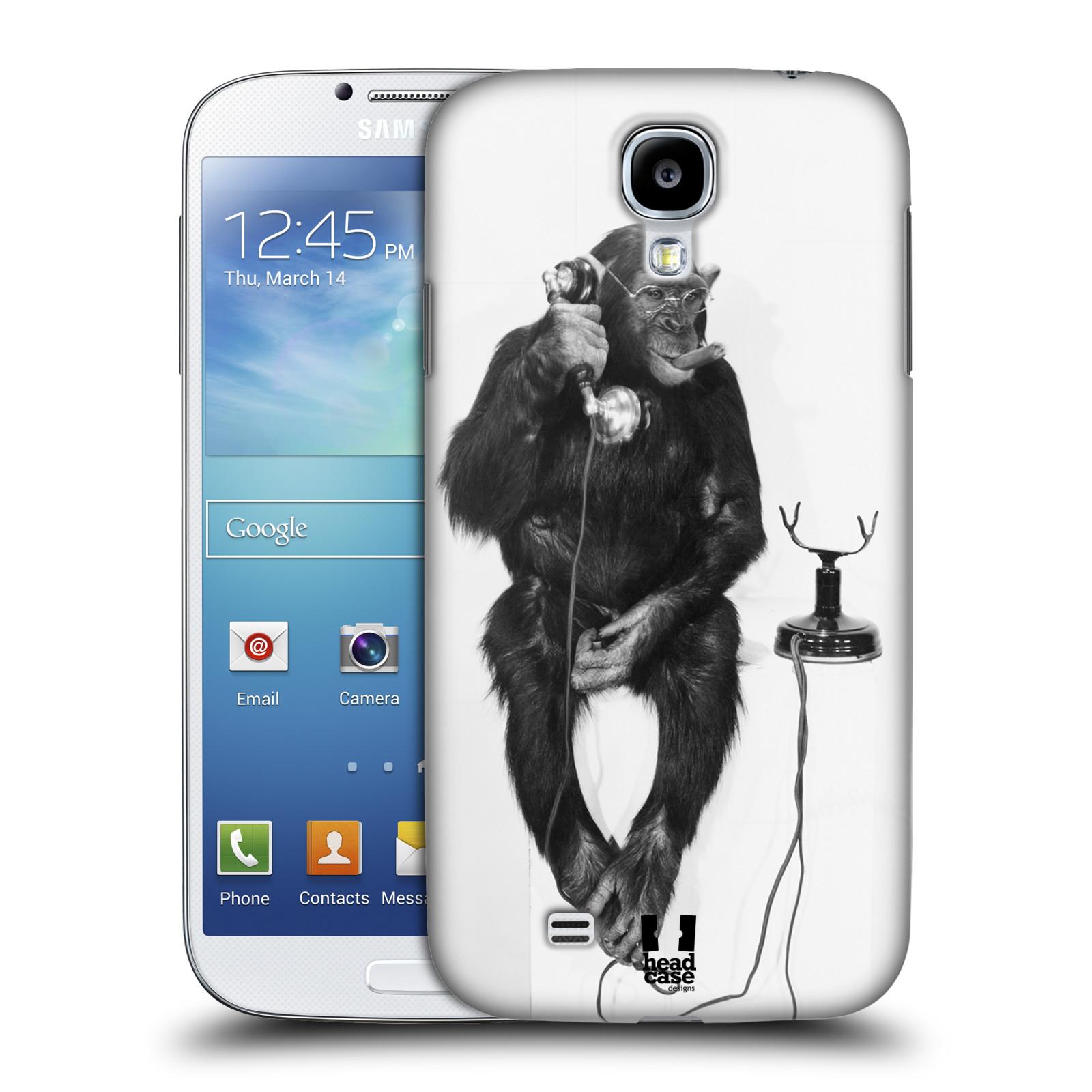 Plastové pouzdro na mobil Samsung Galaxy S4 HEAD CASE OPIČÁK S TELEFONEM (Kryt či obal na mobilní telefon Samsung Galaxy S4 GT-i9505 / i9500)