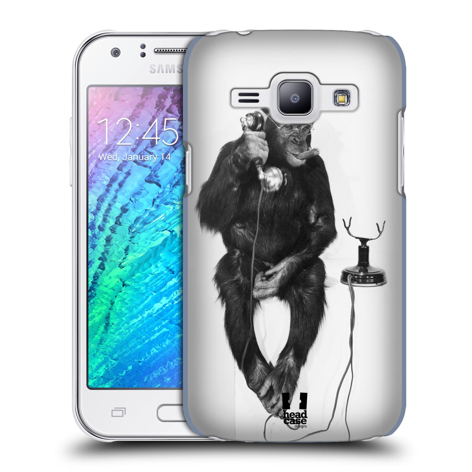 Plastové pouzdro na mobil Samsung Galaxy J1 HEAD CASE OPIČÁK S TELEFONEM (Kryt či obal na mobilní telefon Samsung Galaxy J1 a J1 Duos )