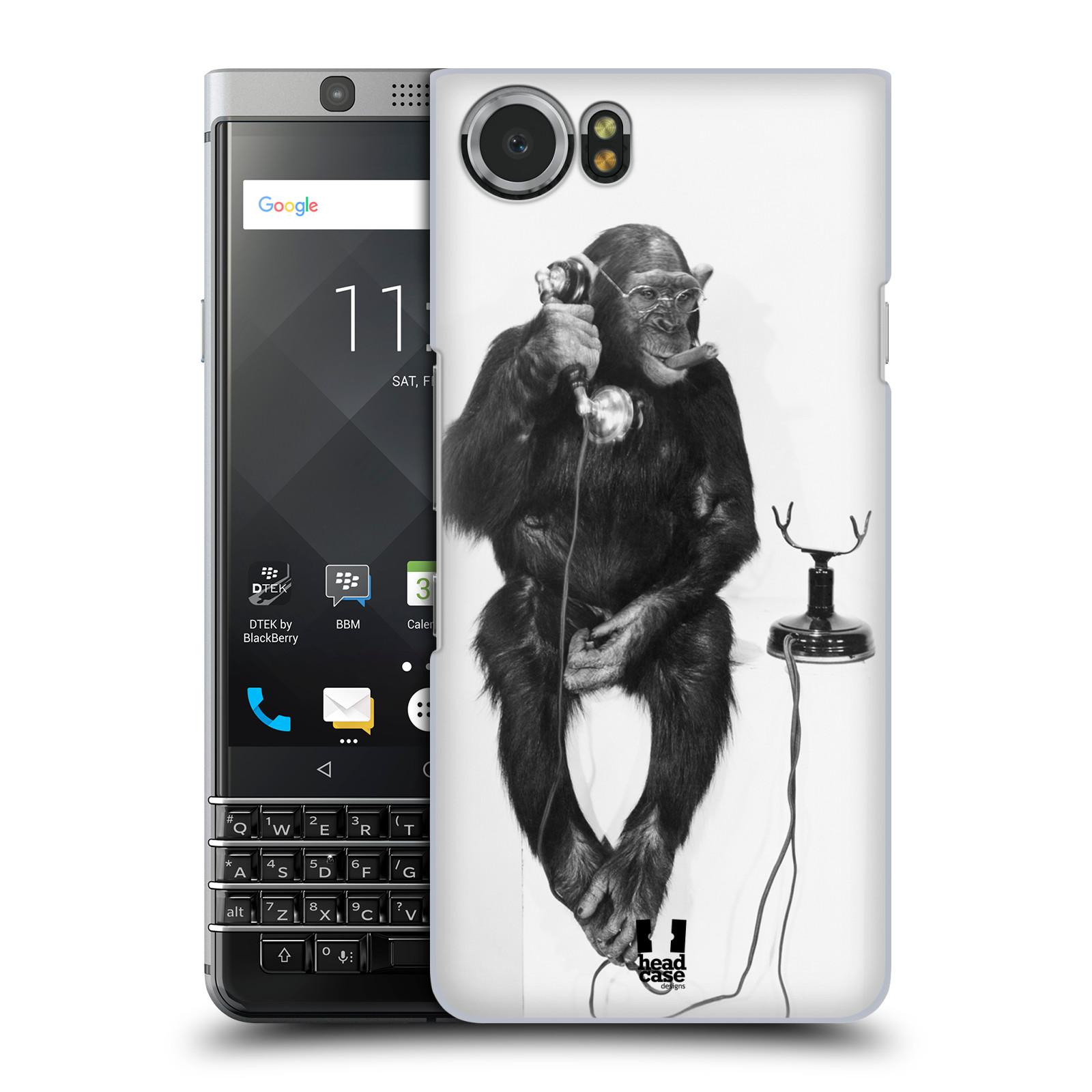Plastové pouzdro na mobil BlackBerry KEYone - Head Case - OPIČÁK S TELEFONEM (Plastový kryt či obal na mobilní telefon BlackBerry KEYone s motivem OPIČÁK S TELEFONEM)